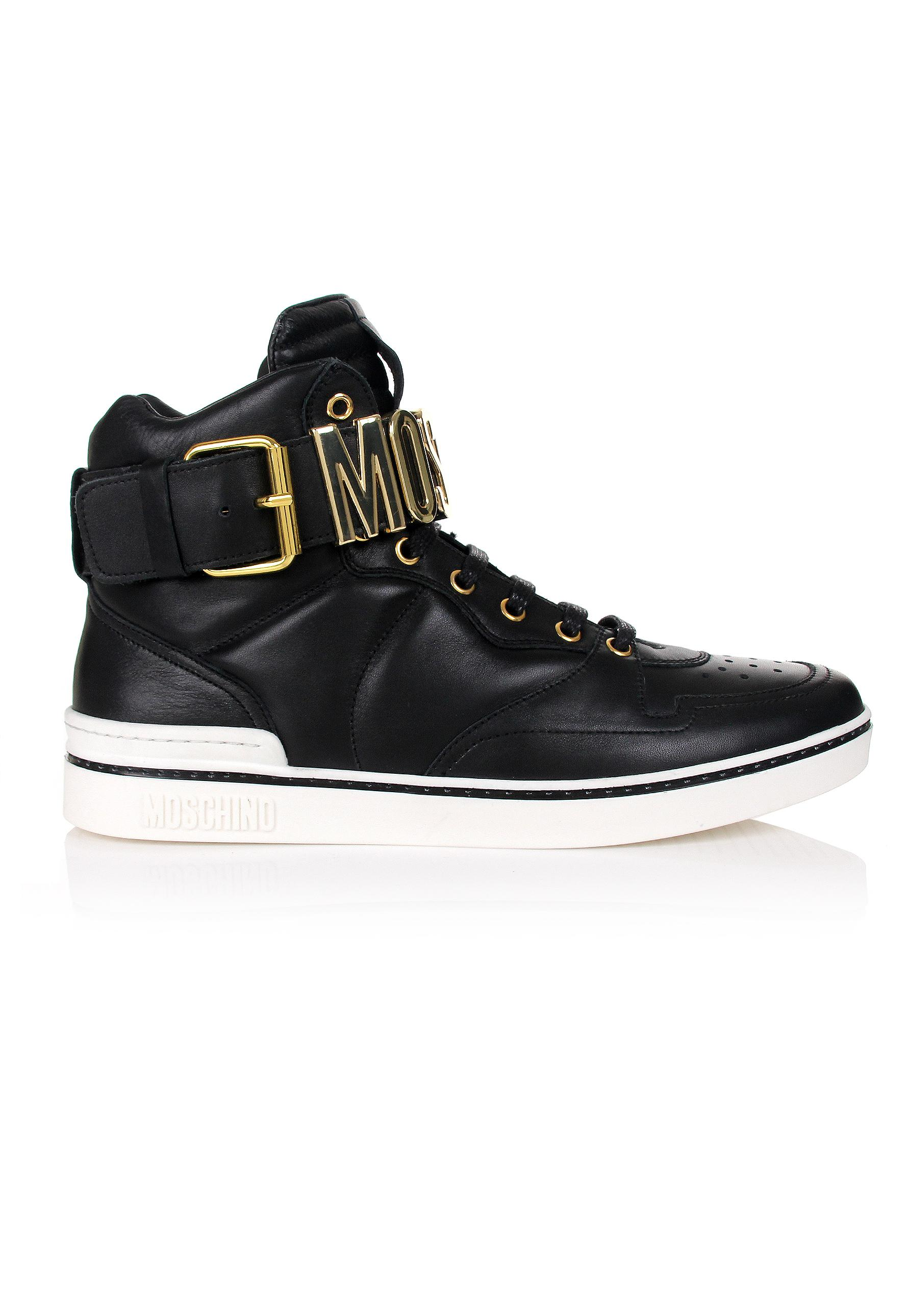 52c9ce29c0ffa Moschino Metal High Top Trainers Black gold in Black for Men - Lyst