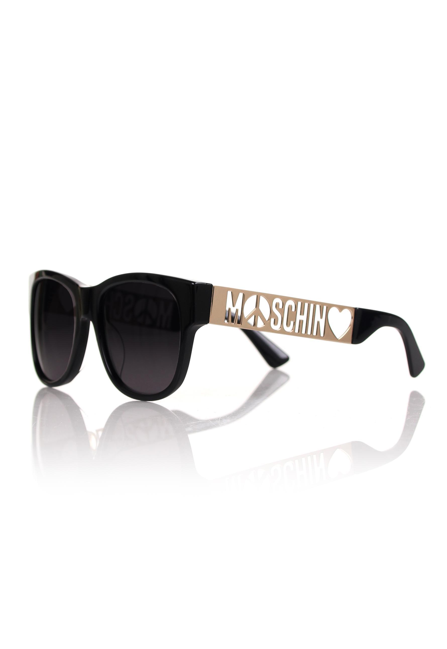 f682c82151 Moschino Peace Logo Wayfarer Sunglasses Black grey Lens in Black - Lyst