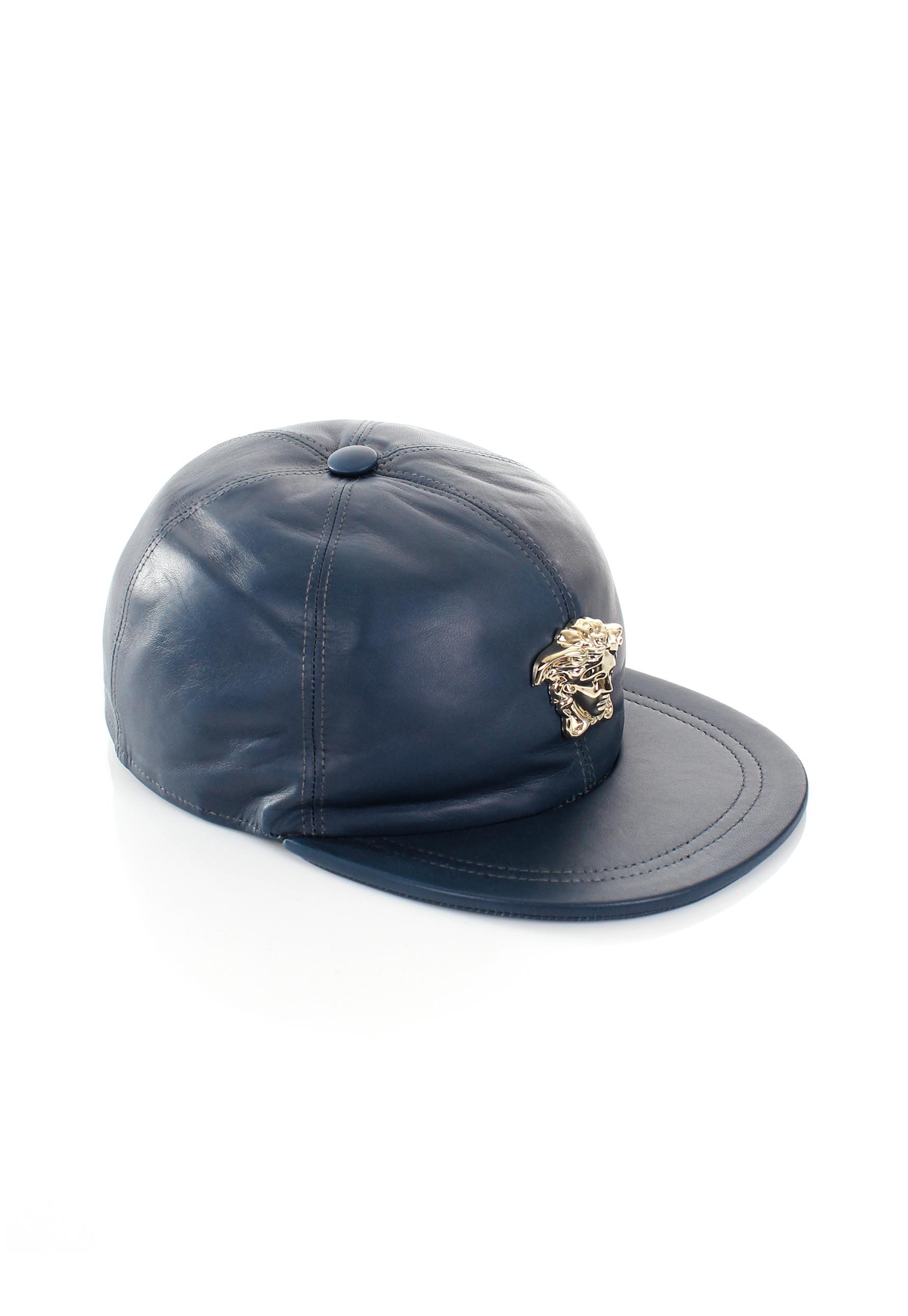 Lyst - Versace Gold Medusa Leather Cap Blue in Blue for Men 8ff825e3db21