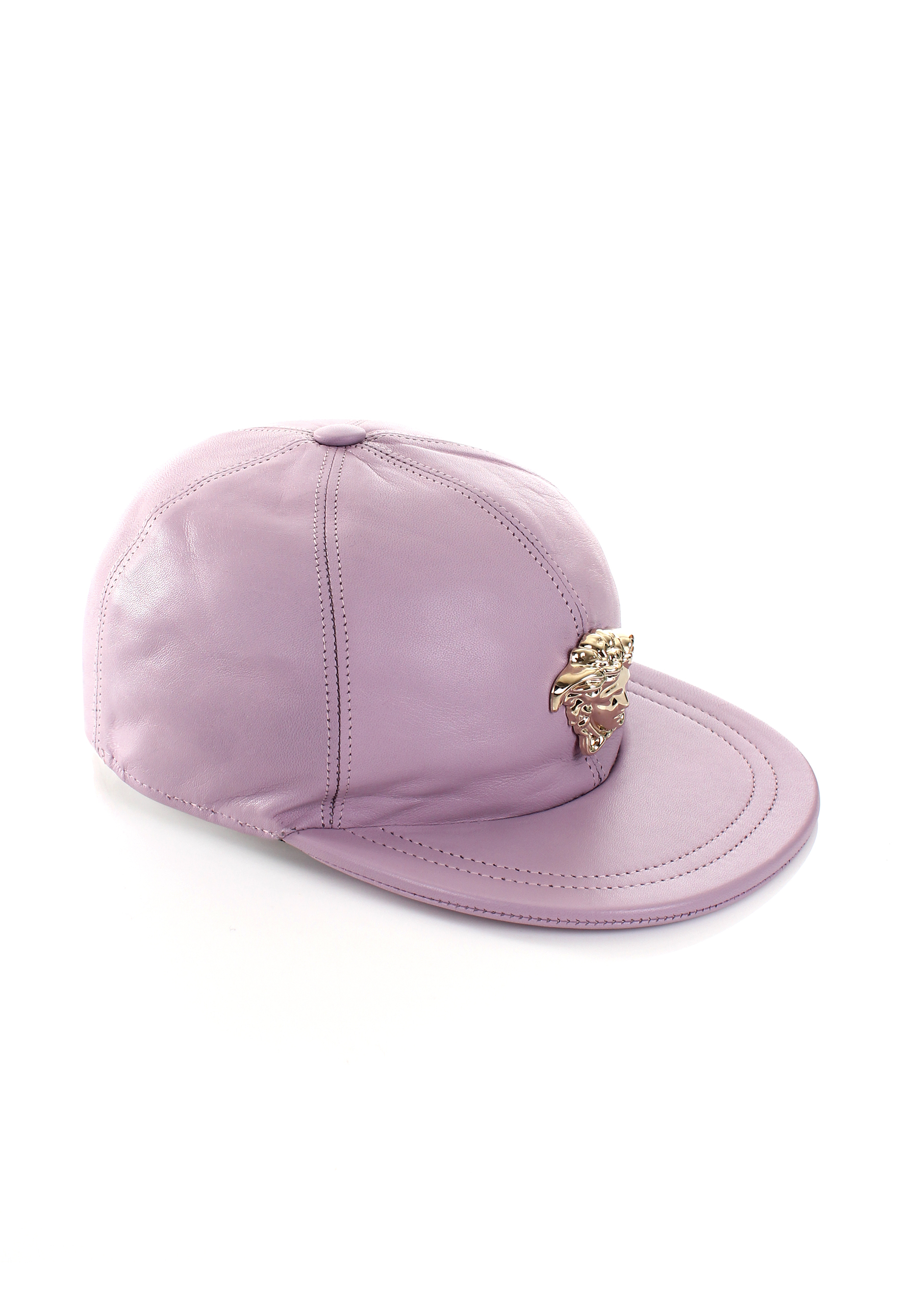 e0e7947f1 Versace Gold Medusa Leather Cap Pink in Pink - Lyst