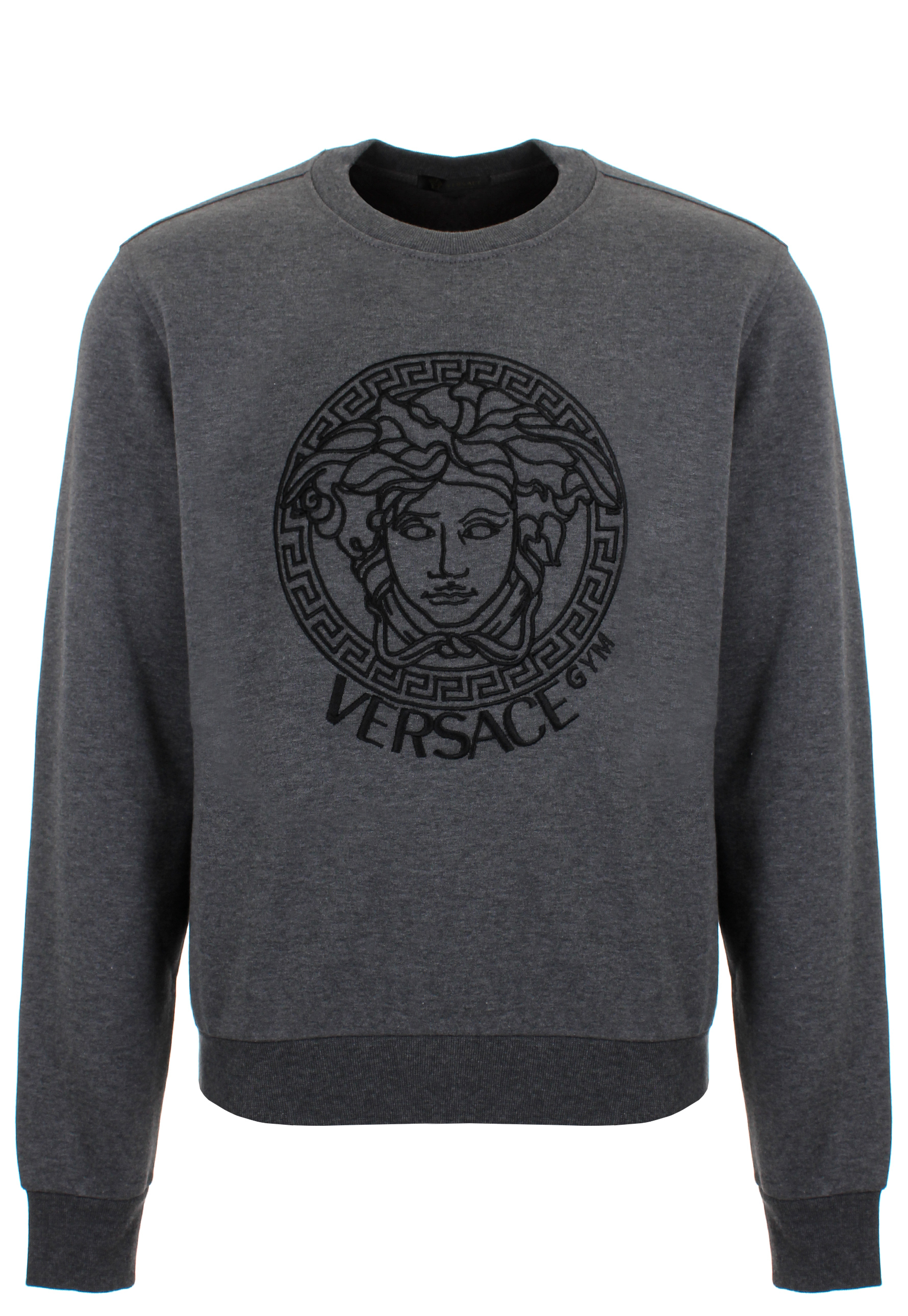 versace medusa gym jersey sweatshirt in gray for men lyst