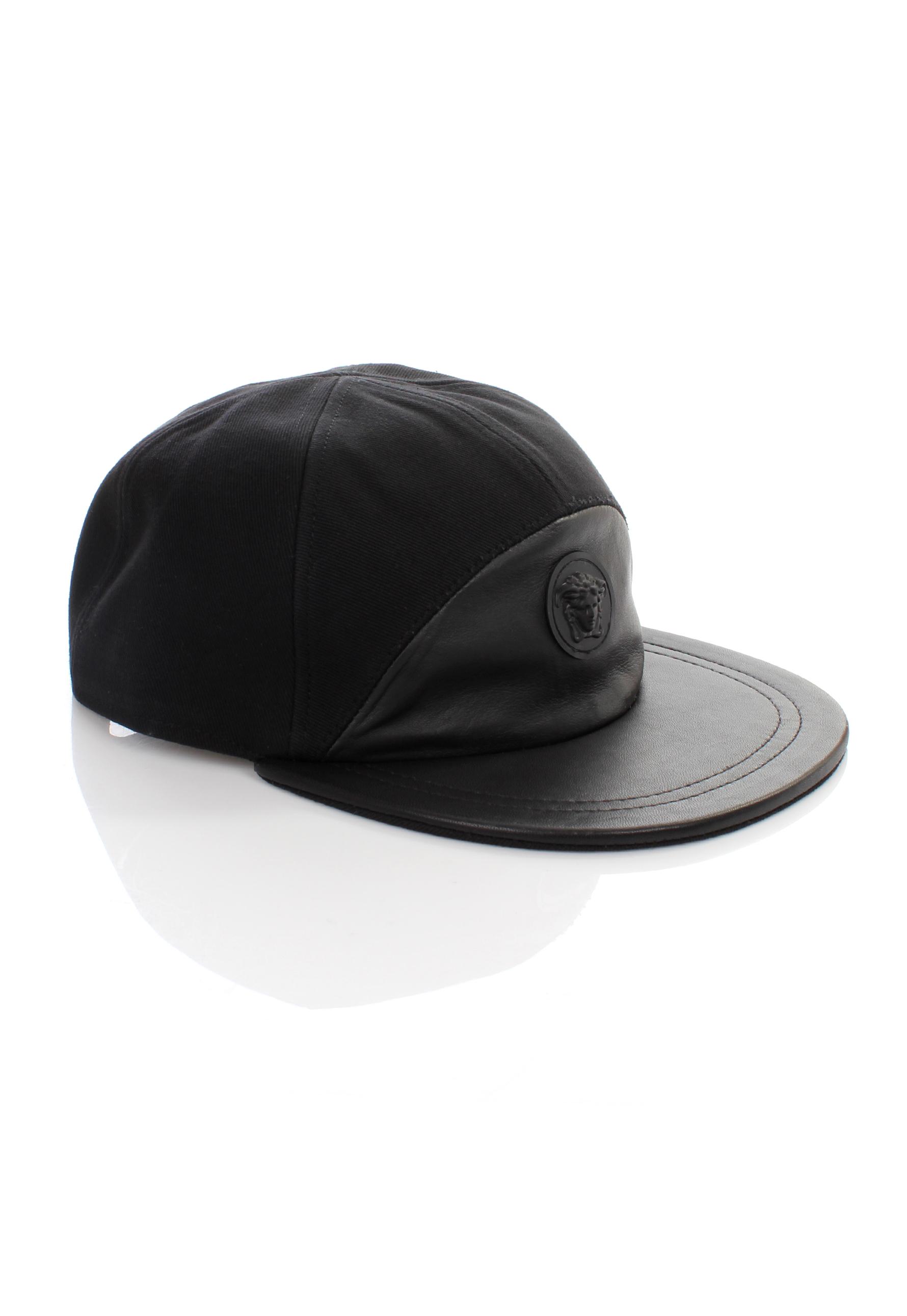 8f3d5a4811eb Lyst - Versace Medusa Logo Half Leather Cap Nero in Black for Men