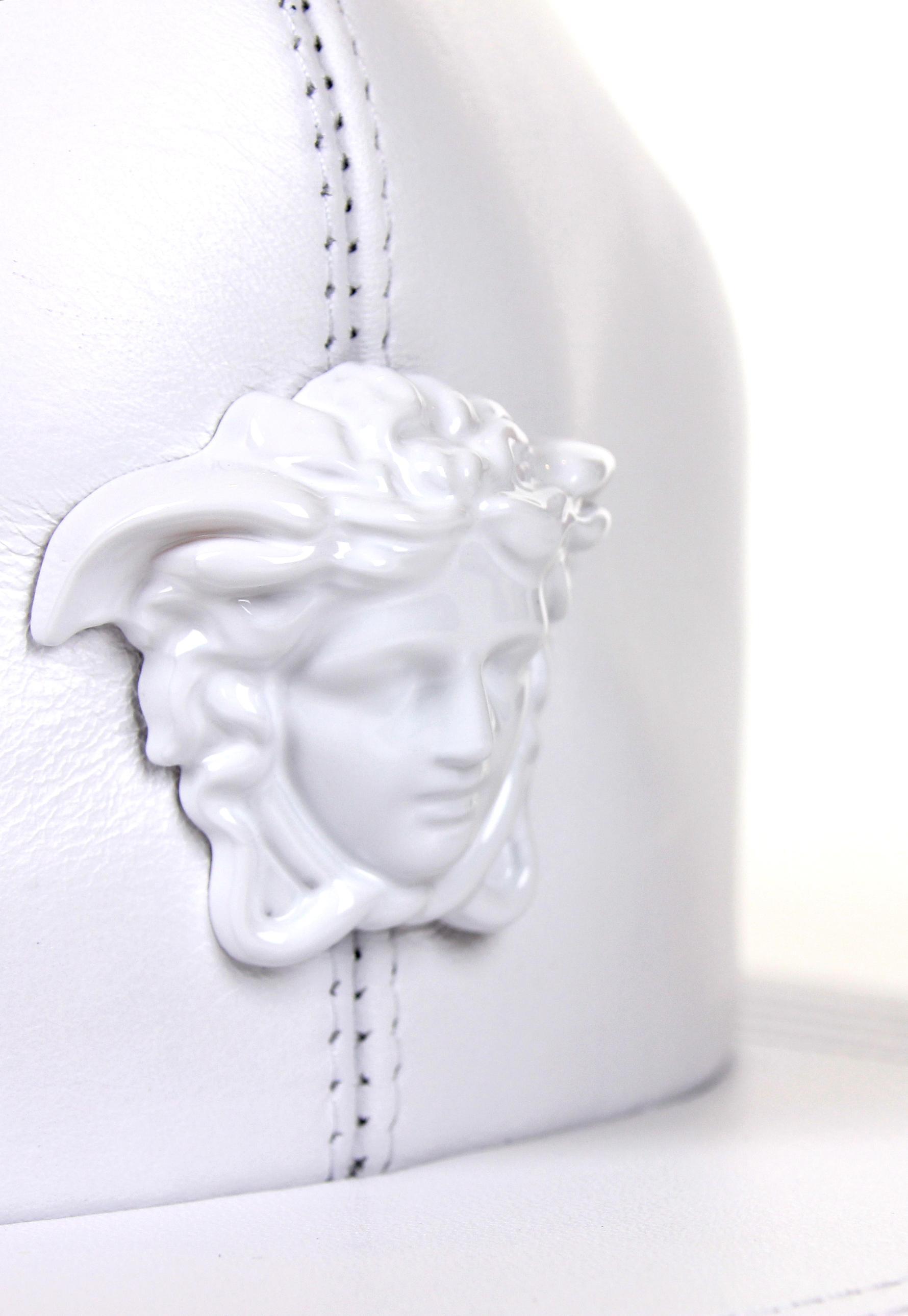 Lyst - Versace Medusa Logo Leather Show Cap White white in White for Men cf09d8f161ec