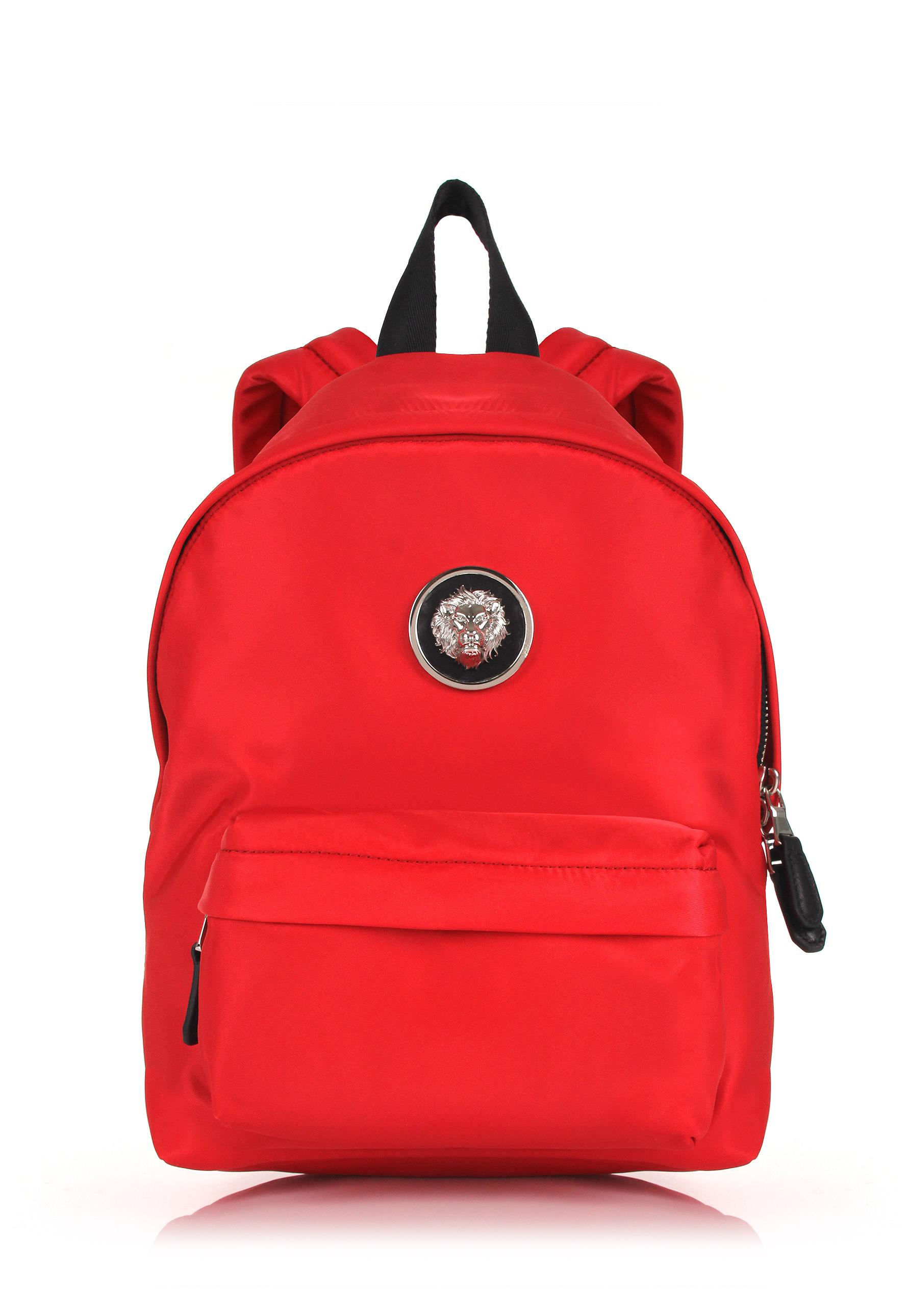Lyst Versus Small Nylon Lion Head Backpack Red Nickel In Red