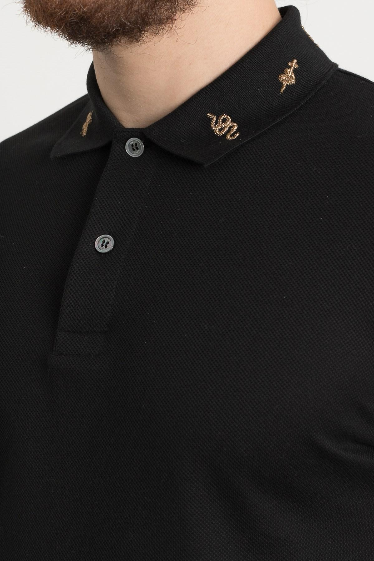 274bb0733 Gucci Embroidered Collar Polo Shirt in Black for Men - Lyst