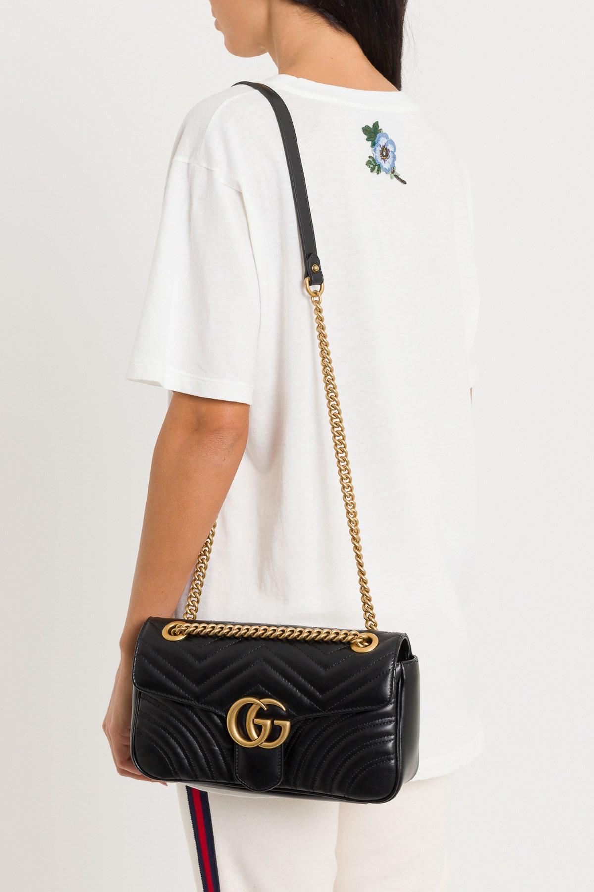 GUCCI Calfskin Matelasse Large GG Marmont Shoulder Bag Old