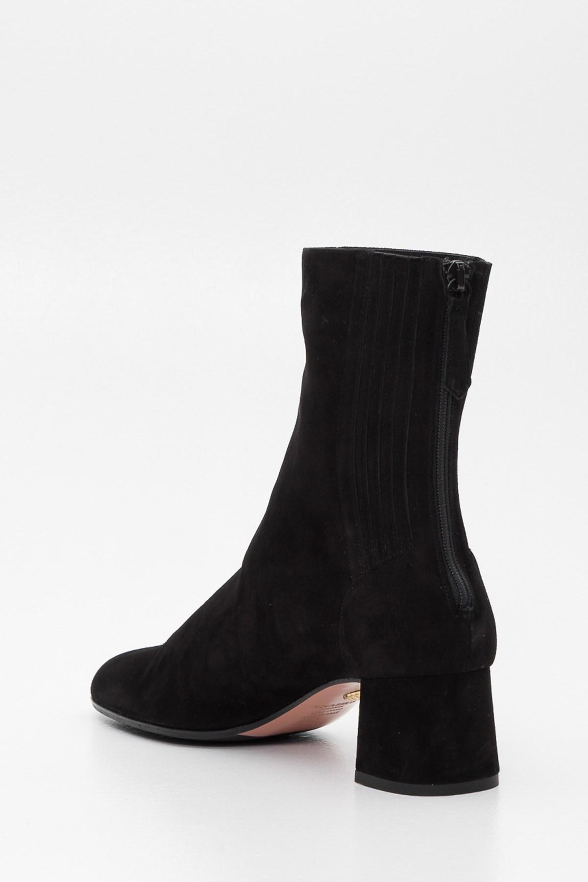 Aquazzura Suede Mid-calf Block Heel Boots in Black - Save 50%