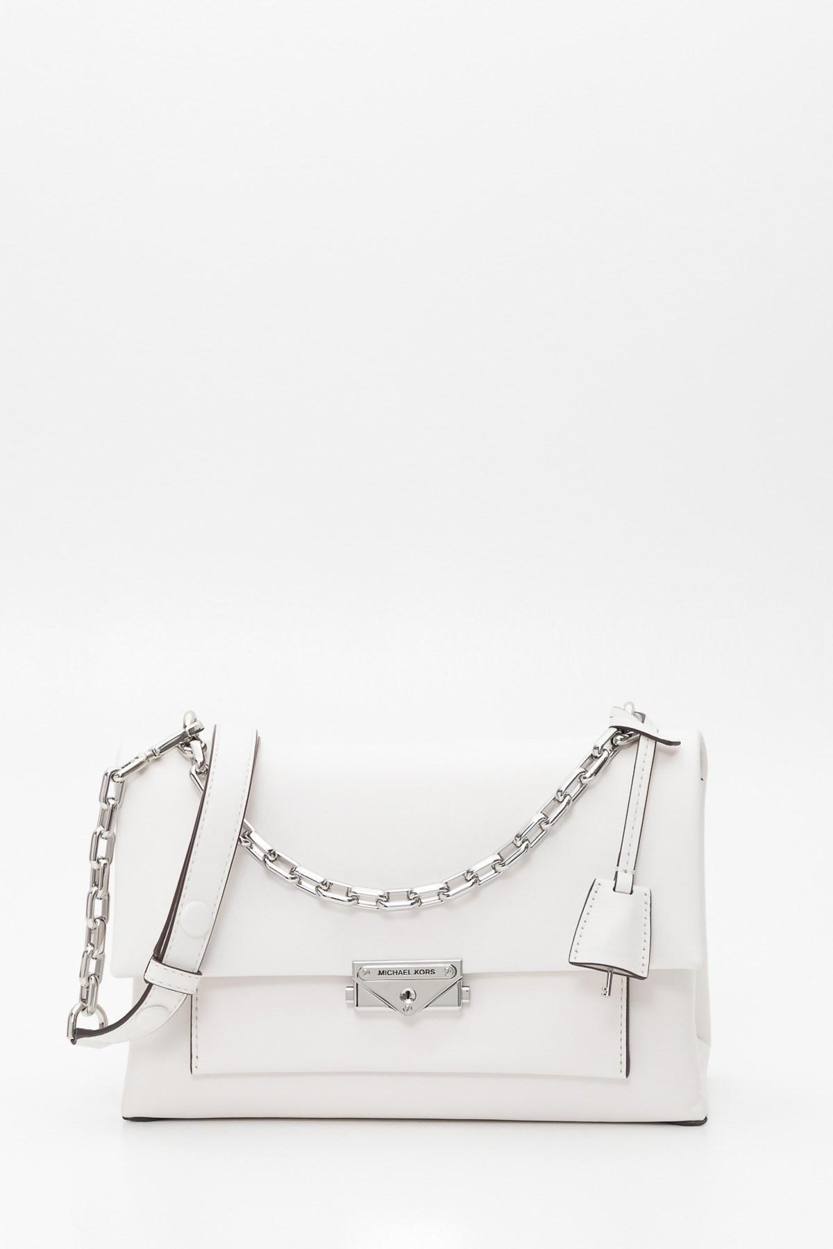 82c61b9448c9 Lyst - MICHAEL Michael Kors Cece Large Leather Shoulder Bag in White