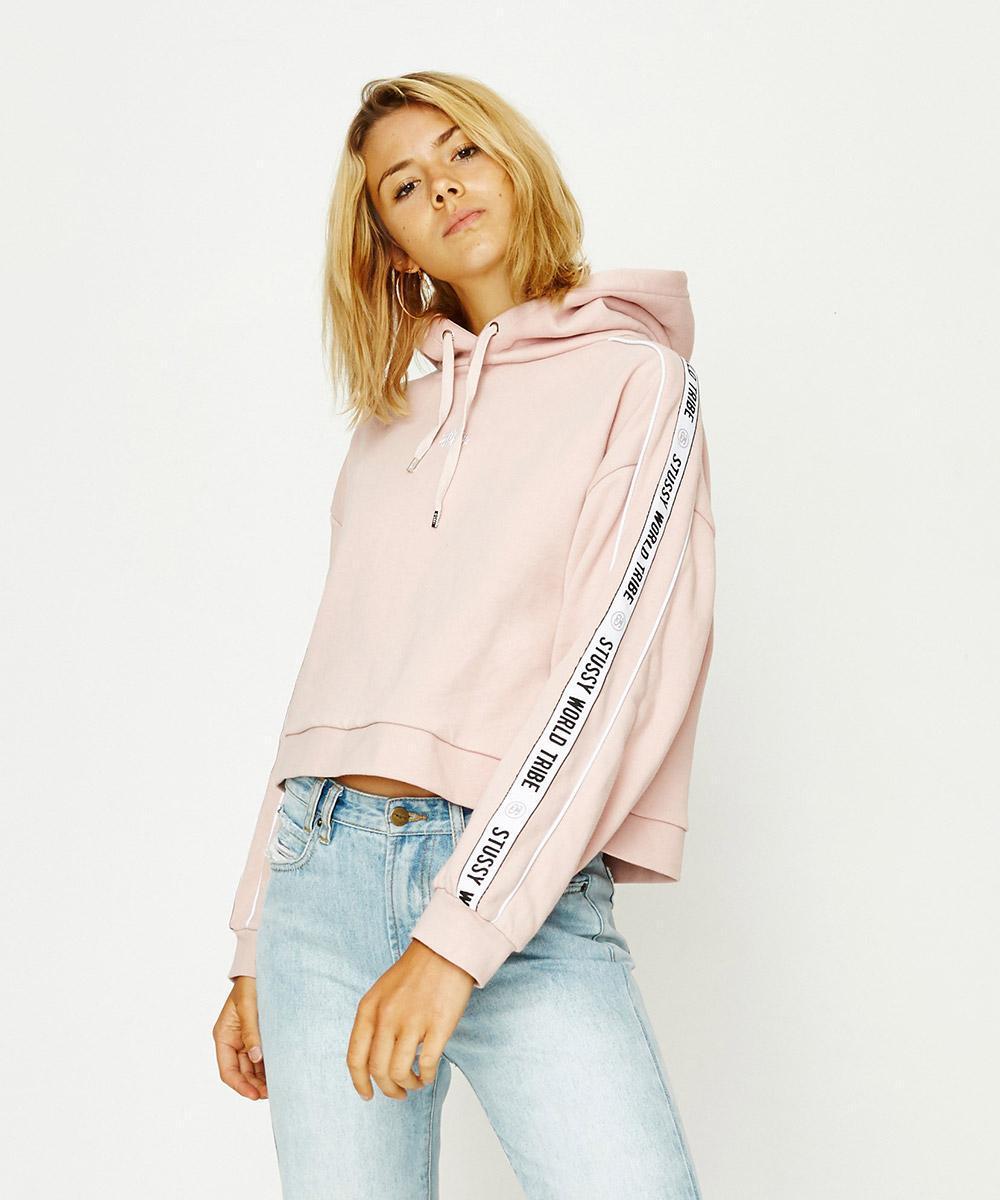 53cebfa0 Stussy Posse Crop Hoodie Dusty Pink in Pink - Lyst