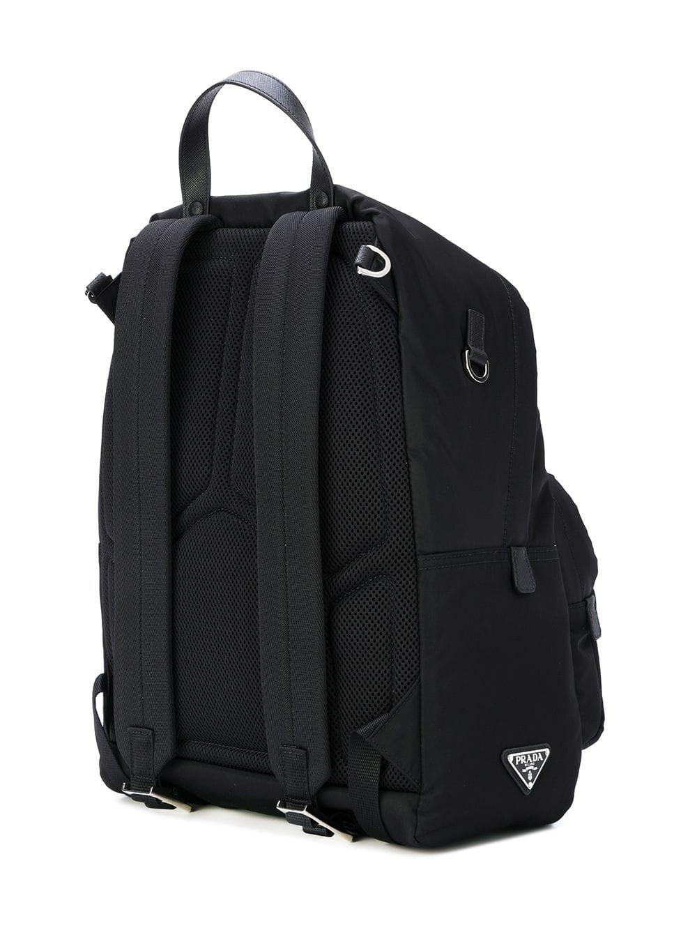e40d11e3973c ... italy prada black logo backpack for men lyst. view fullscreen 74d0f  ab384 ...