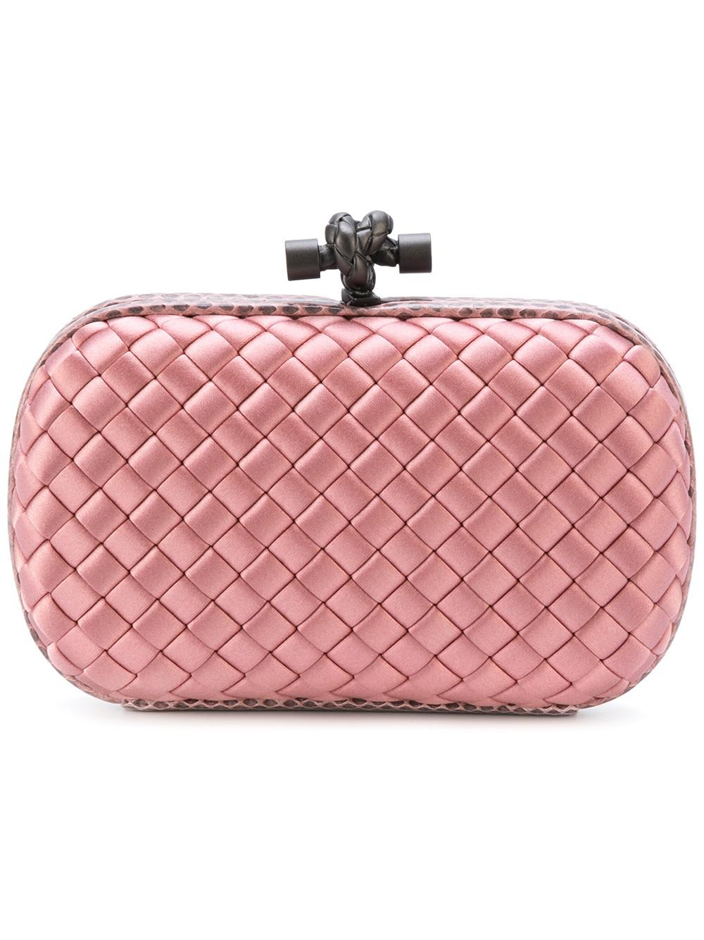 fd8dba65b6 Lyst - Bottega Veneta Satin And Snakeskin Knot Clutch in Pink