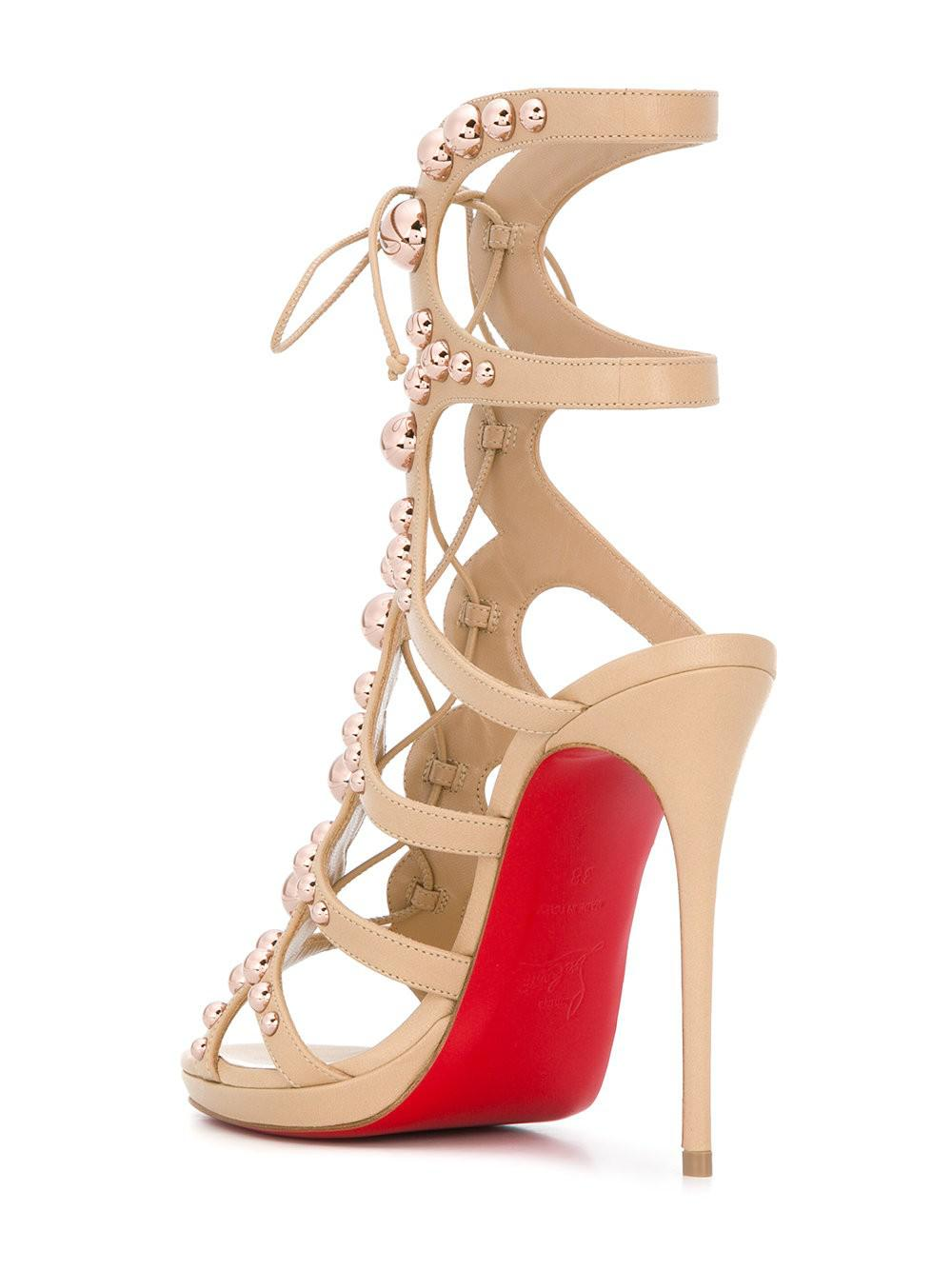 Amazoubille 120 Studded Leather Sandals - Neutral Christian Louboutin Free Shipping Shop For Best Deals Cheap Price Outlet Sale Discount Big Sale Free Shipping Top Quality Gcz1AZ