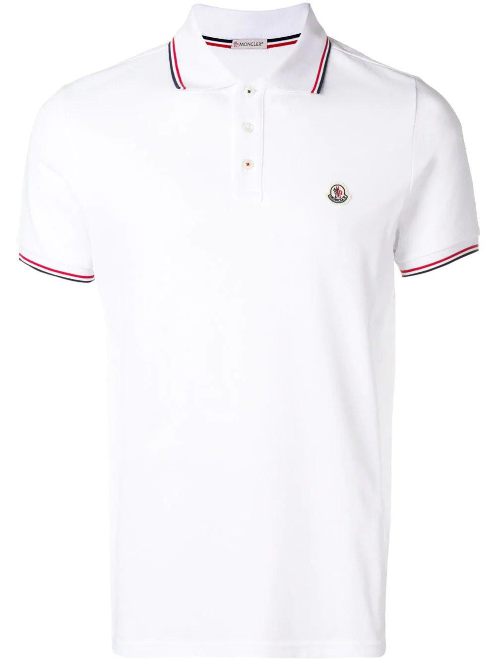 918d0737 Moncler - White Striped Trim Polo Shirt for Men - Lyst. View fullscreen