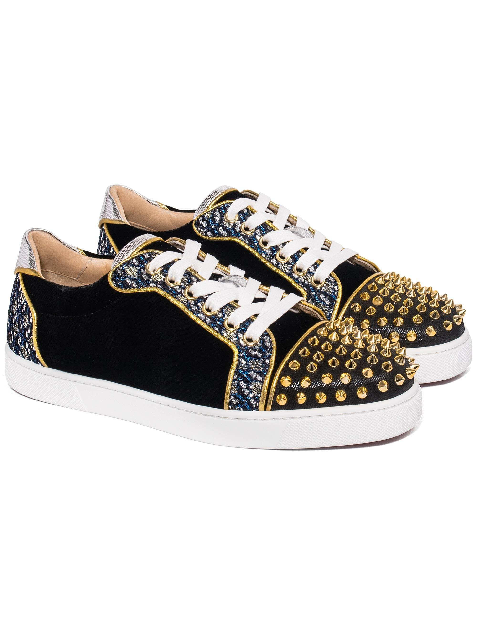 9dd930e8088 Christian Louboutin Black Vieira Spikes Lace-up Low-top Sneakers