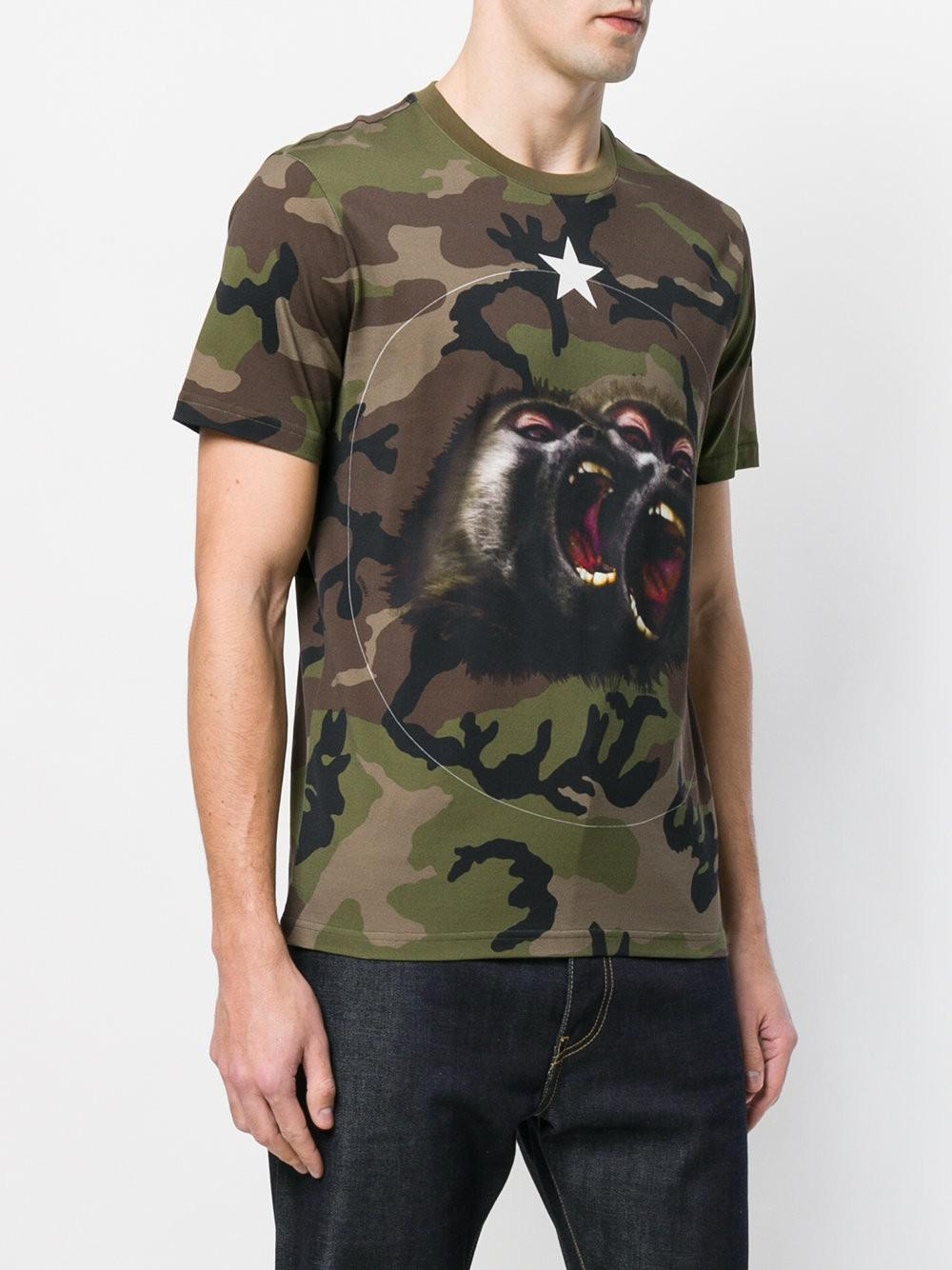 4ec701ea Givenchy Monkey Brothers Motif Camouflage T-shirt in Green for Men ...