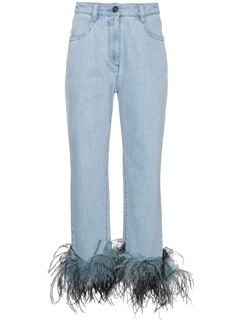 Womens Ostrich-Feather-Embellished Relaxed Jeans Prada Visit New For Sale YGnBVKbi