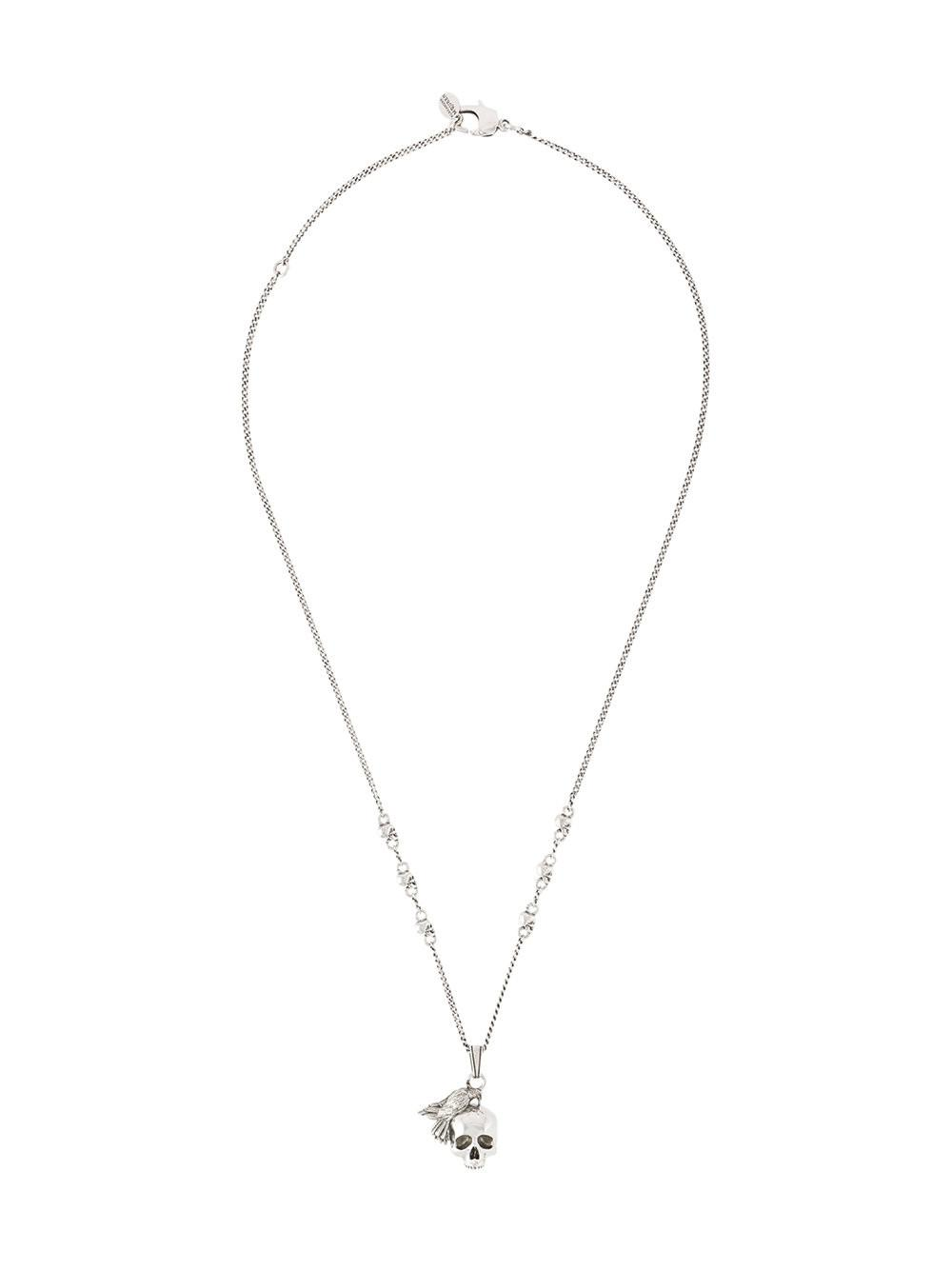 574631fbb78a9 Men's Metallic Skull And Bird Charm Necklace