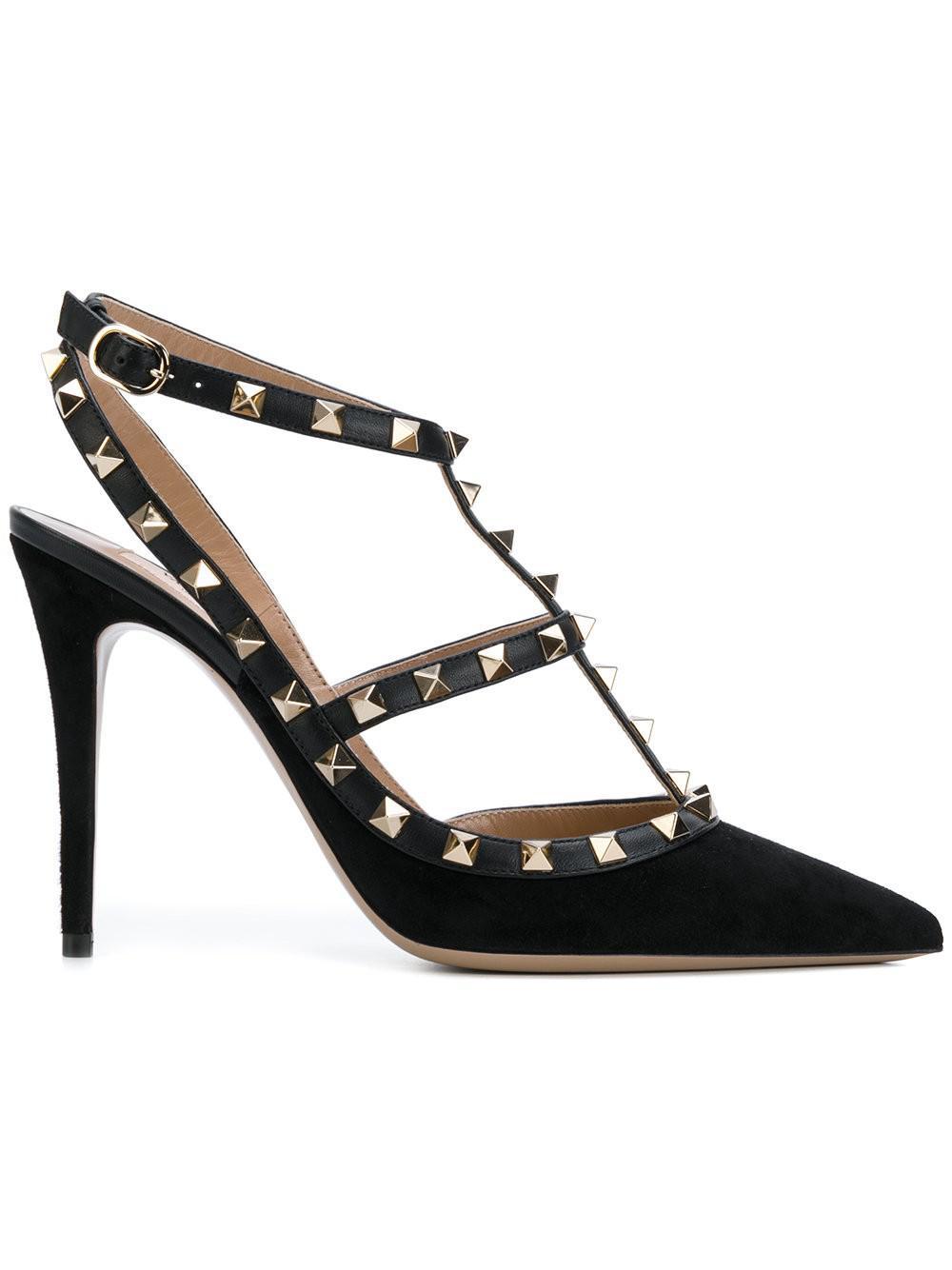 Lyst - Valentino Black Suede 110 Rockstud Heels In Black-2815