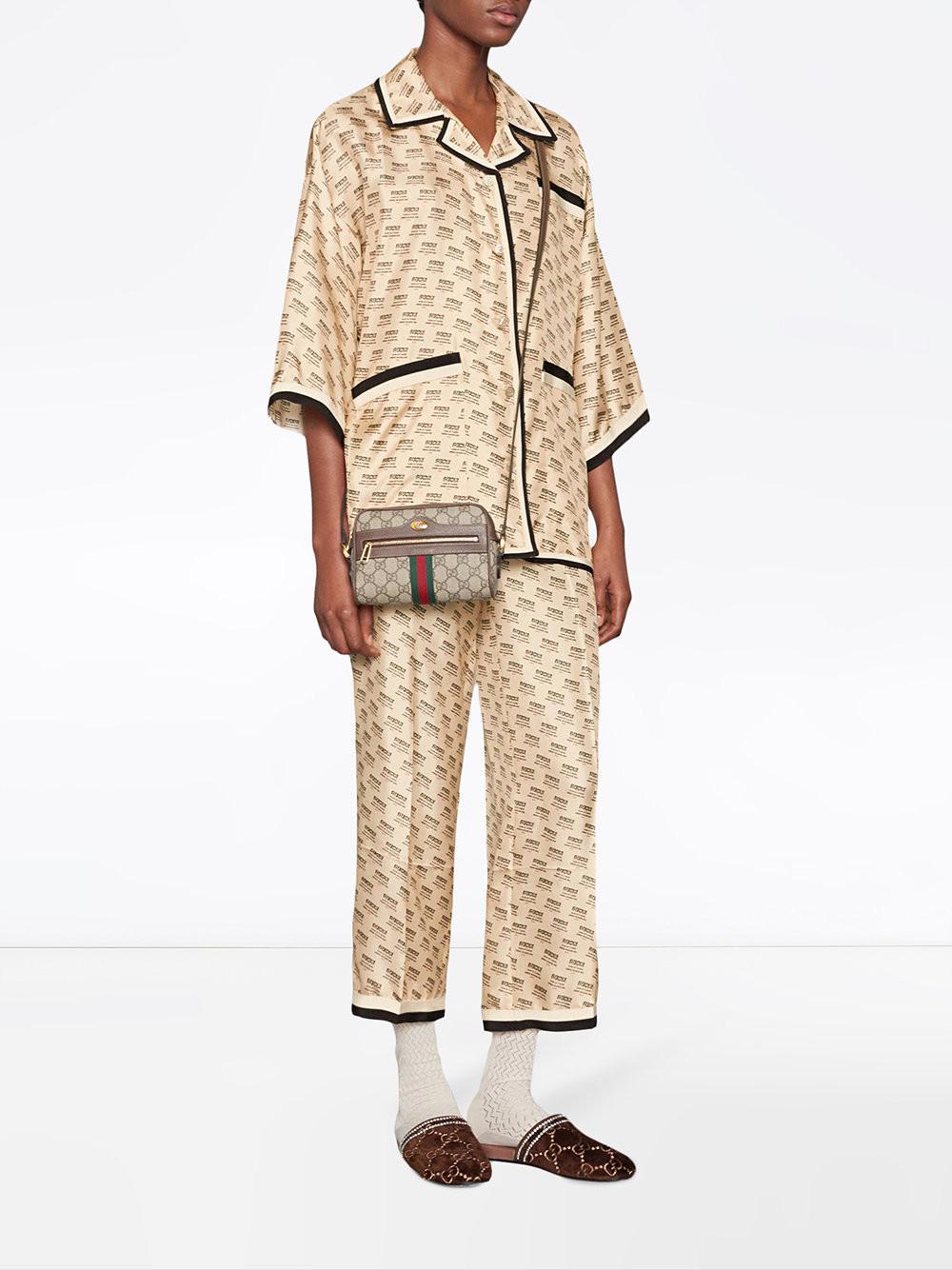 426440d8a57 Lyst - Gucci Invite Stamp Silk Shirt - Save 36%