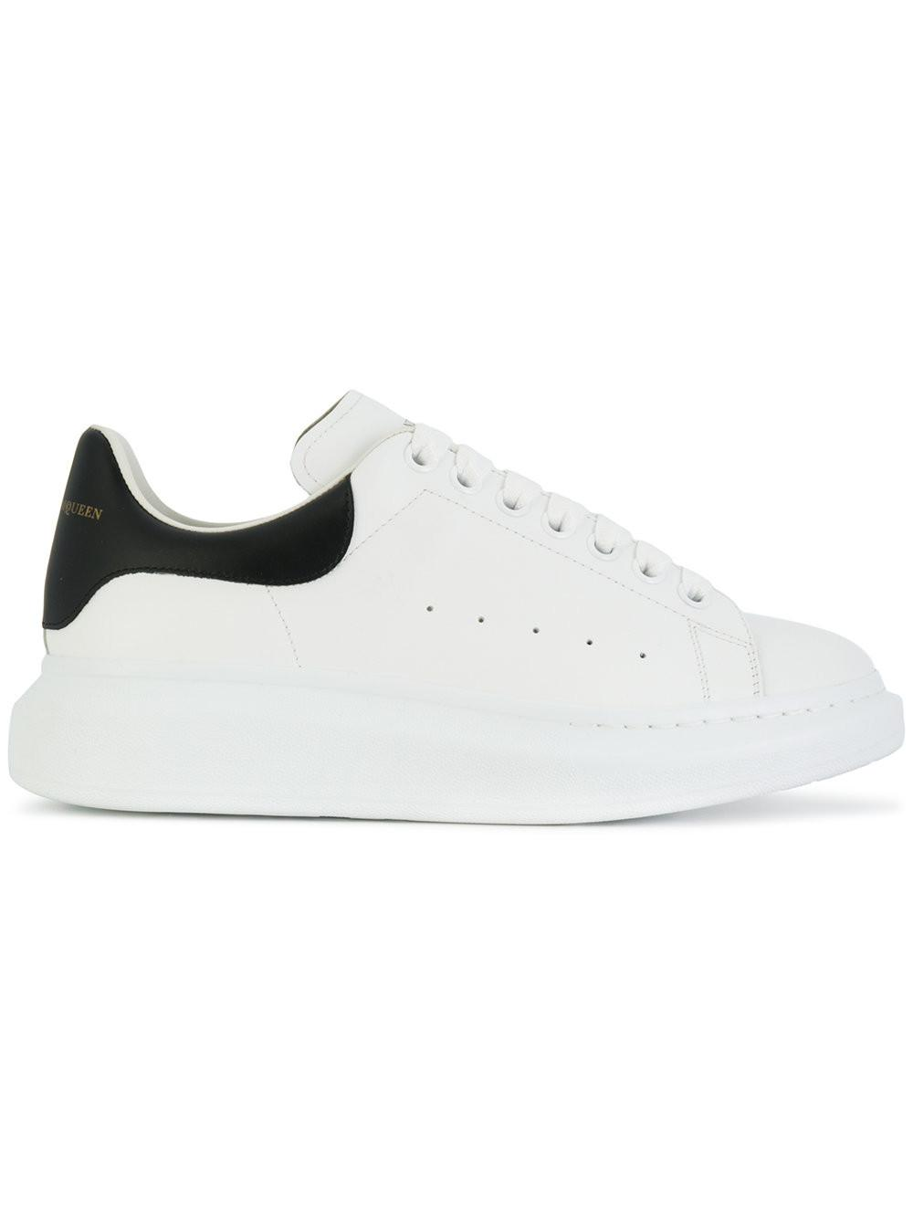 7a5bb89e6d62 Lyst - Alexander Mcqueen Black Oversized Leather Sneakers in White ...
