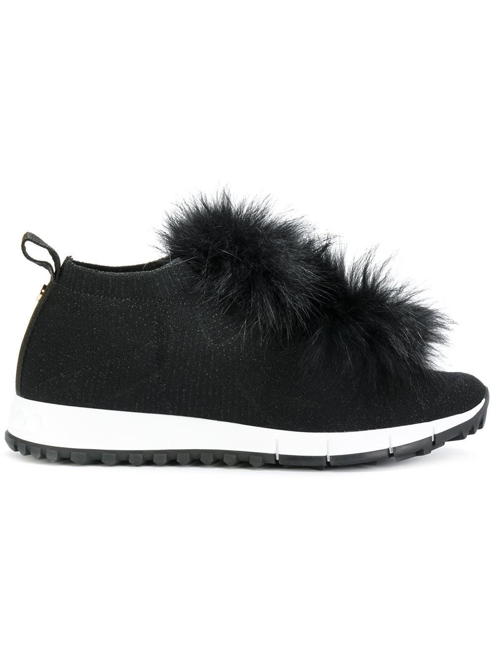 Jimmy choo Sneakers NORWAY fabric stars print pompon fox fur black aKbzaYRIV