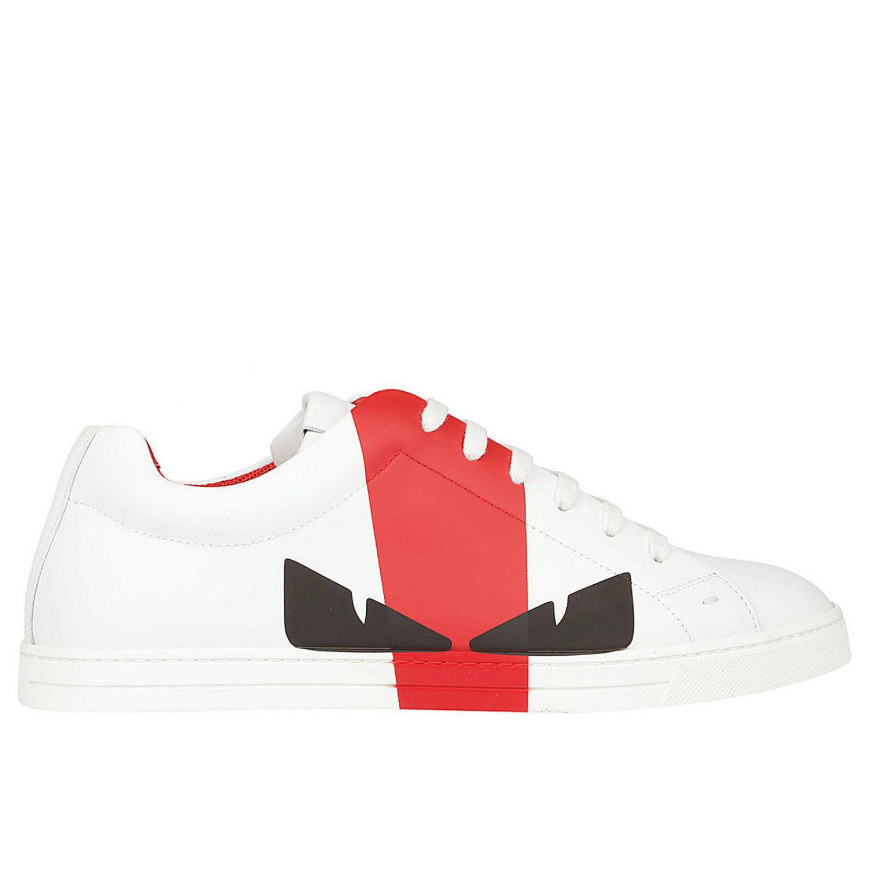 Fendi Leather Sneakers Men in White for