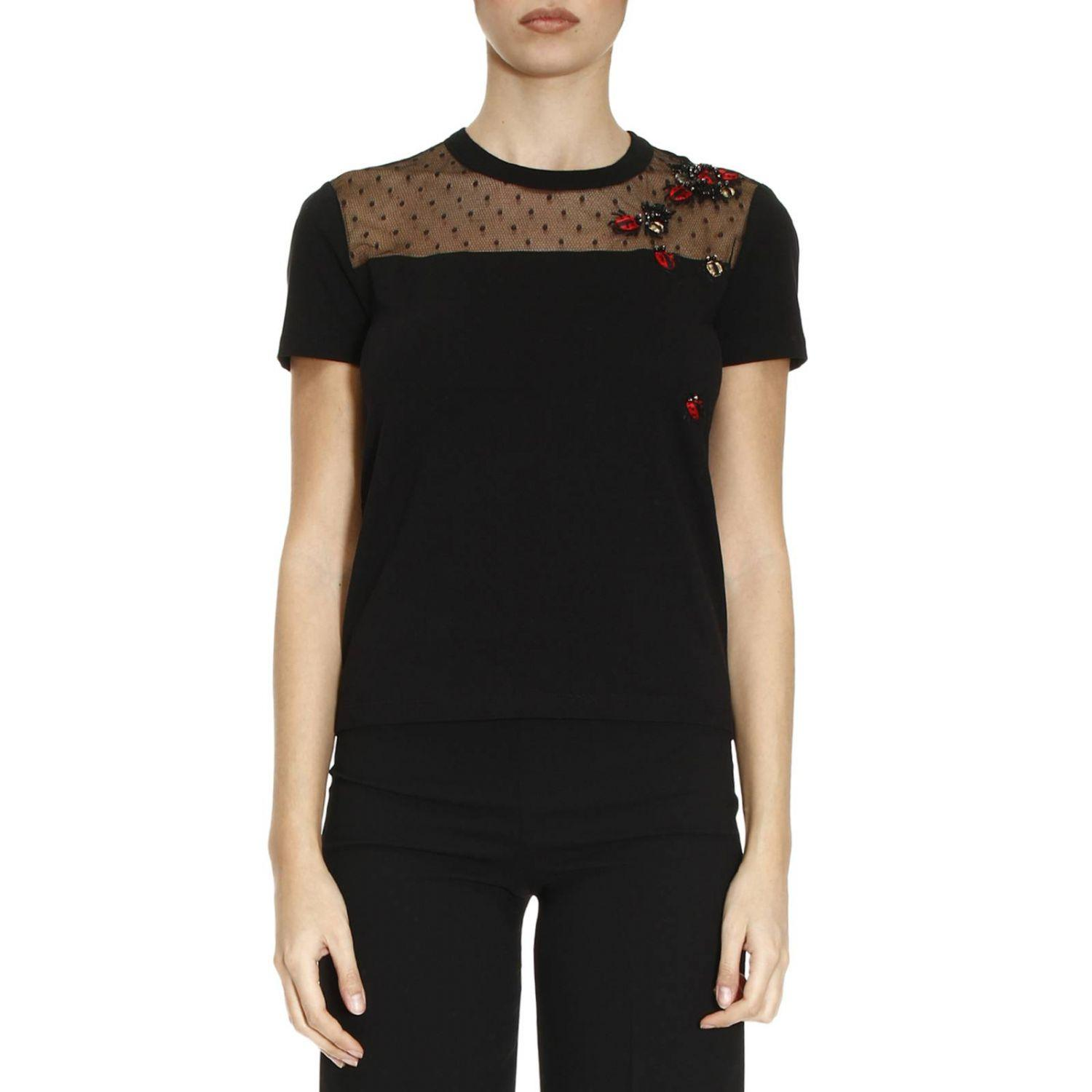 Lyst red valentino t shirt women in black for Red valentino t shirt