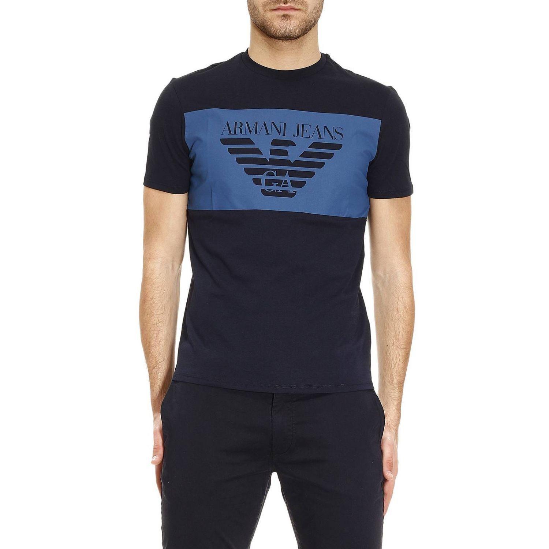 armani jeans t shirt men in blue for men lyst. Black Bedroom Furniture Sets. Home Design Ideas