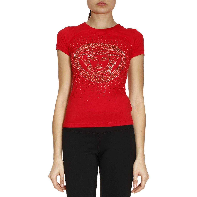 Lyst versace t shirt women in red for Versace t shirts women