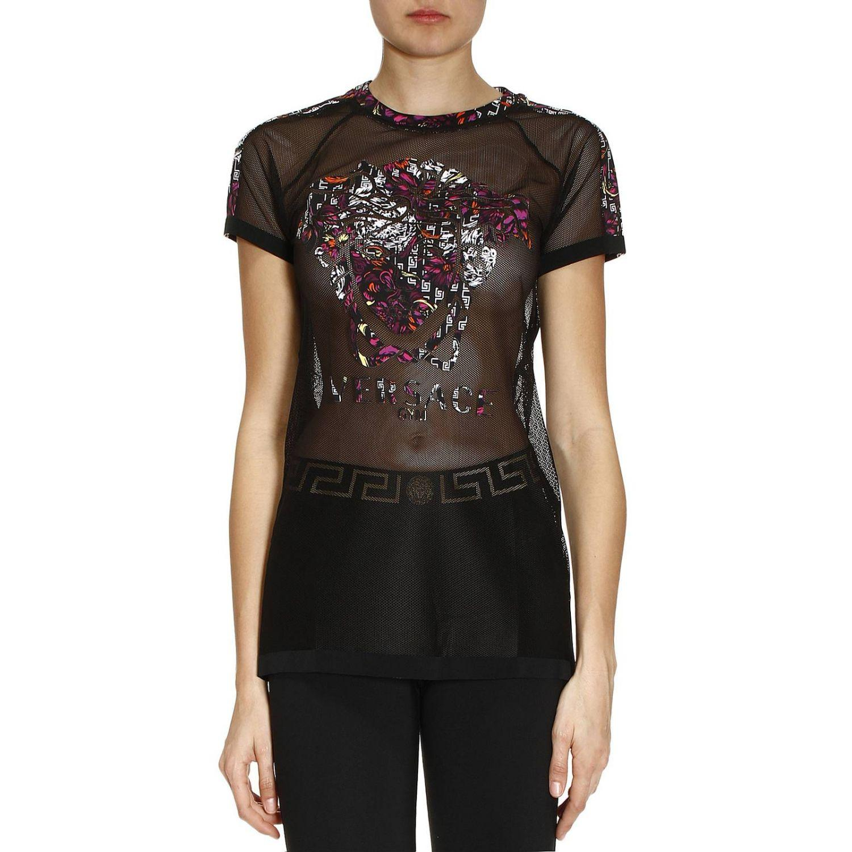 Versace t shirt women in black lyst for Versace t shirts women