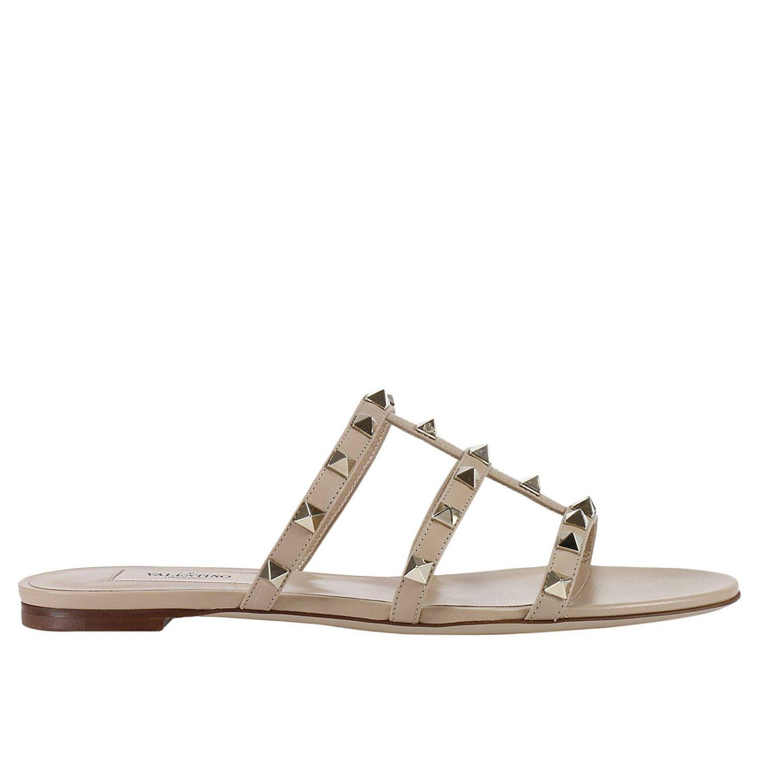 Lyst Valentino Flat Sandals Shoes Women Valentino In Natural