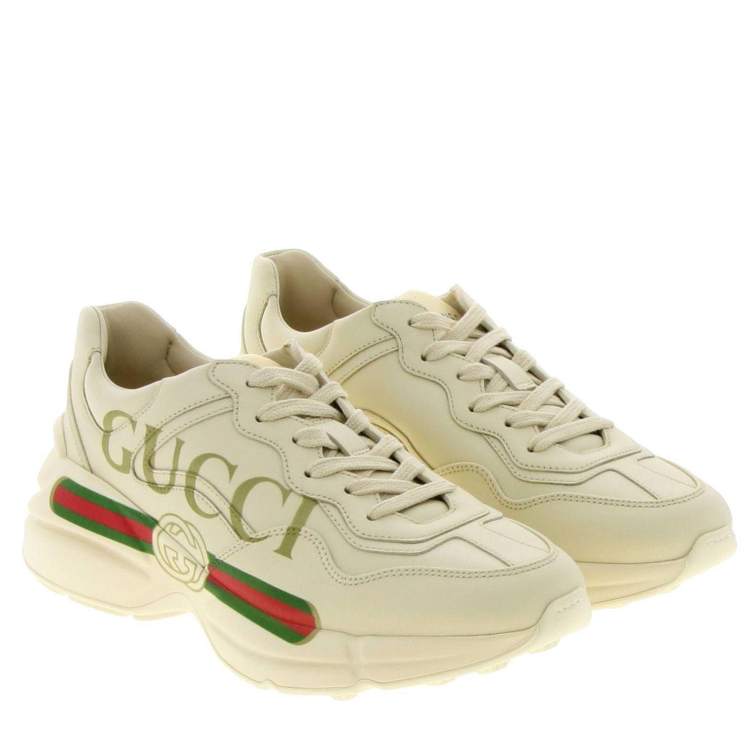 Gucci Rhyton Logo Leather Sneakers in