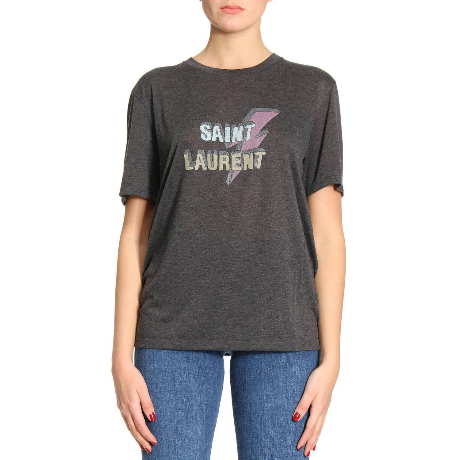 lyst saint laurent t shirt women in gray