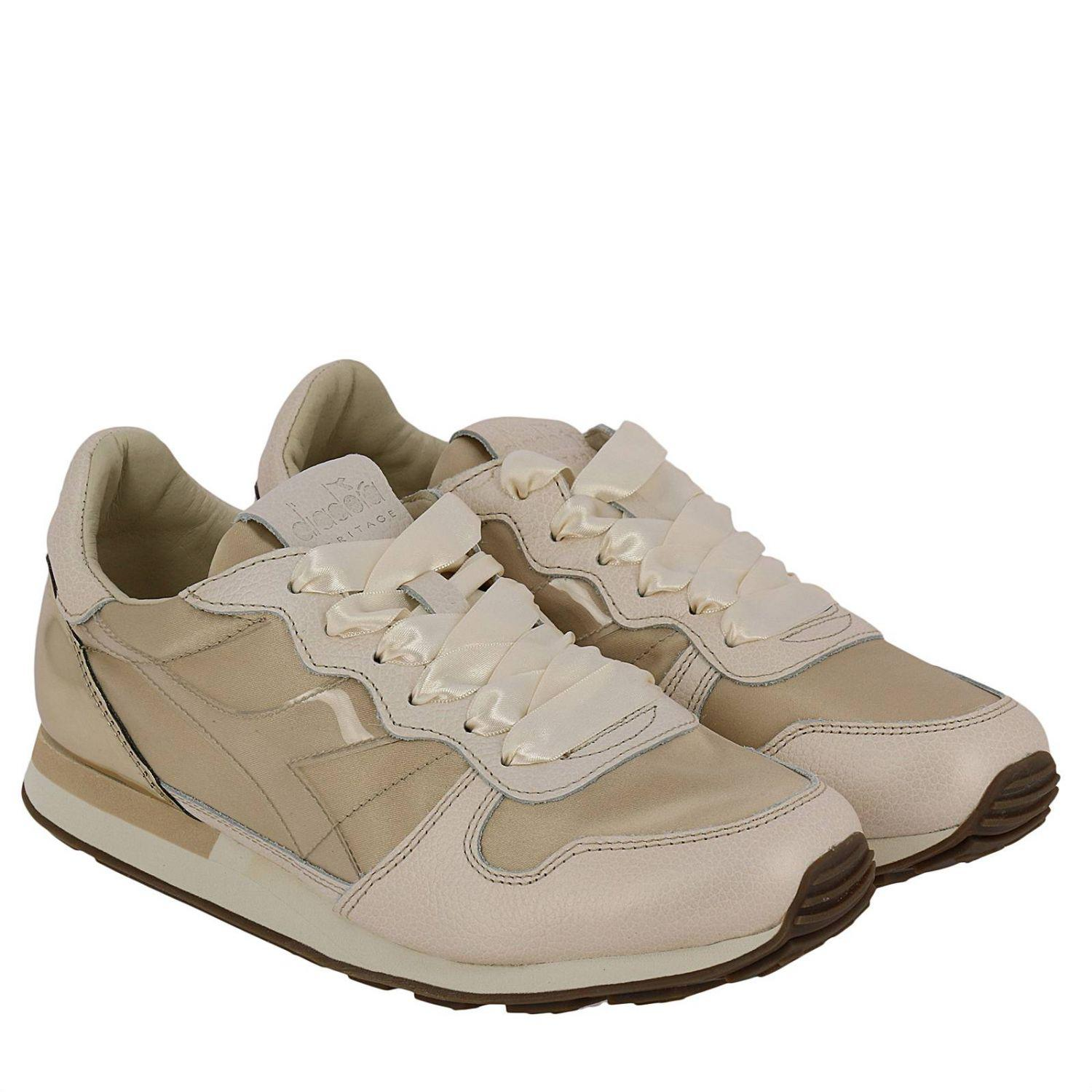 Diadora Leather Sneakers Shoes Women in Gold (Metallic)
