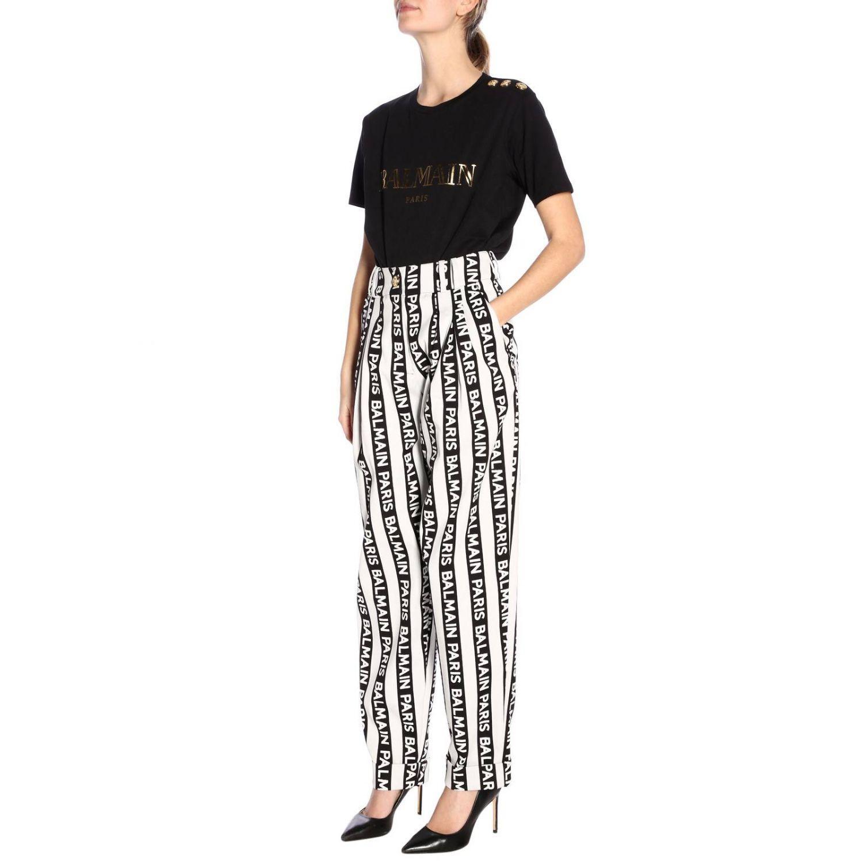 89e516d7 Balmain - Black Logo Print Cotton Jersey T-shirt - Lyst. View fullscreen