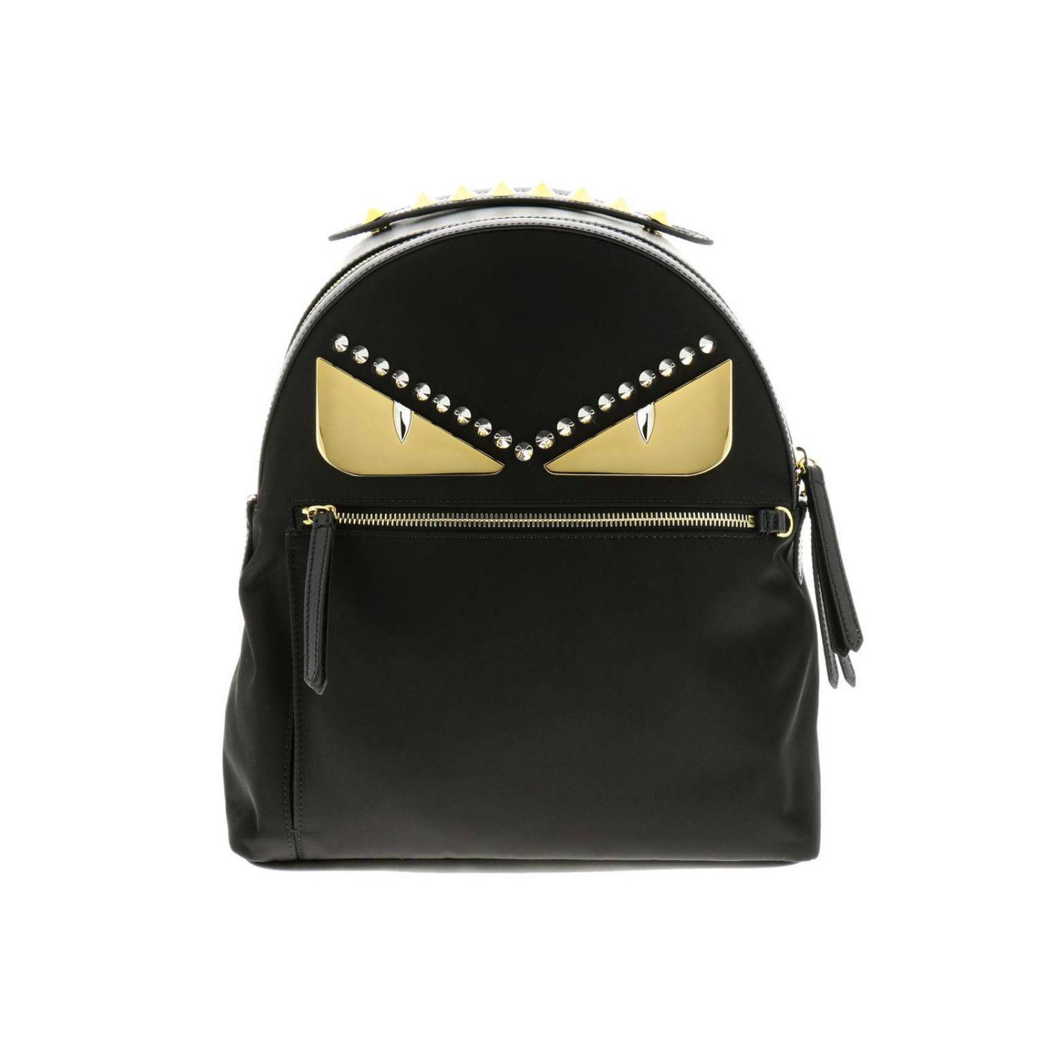 263a92d36350 Fendi. Women s Black Monster Eyes Nylon And Leather Backpack With Bag Bugs  ...