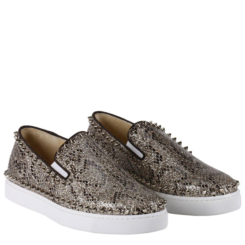 Christian Louboutin Leather Sneakers Shoes Women in Gold (Metallic)