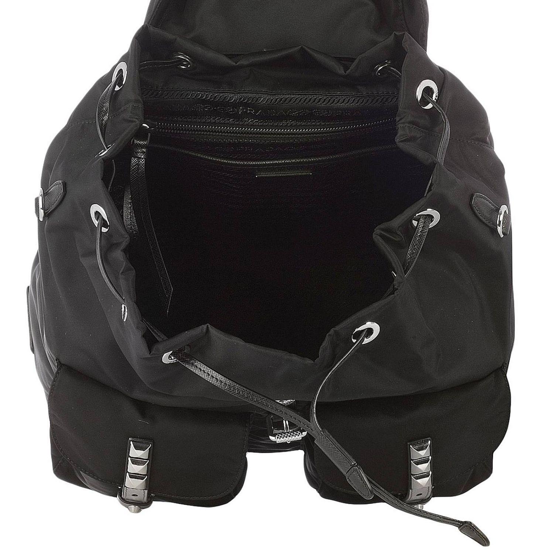 Prada Leather Backpack Shoulder Bag Women in Black 2 (Black)