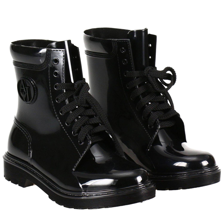 Armani Jeans Flat Booties Shoes Women In Black Lyst