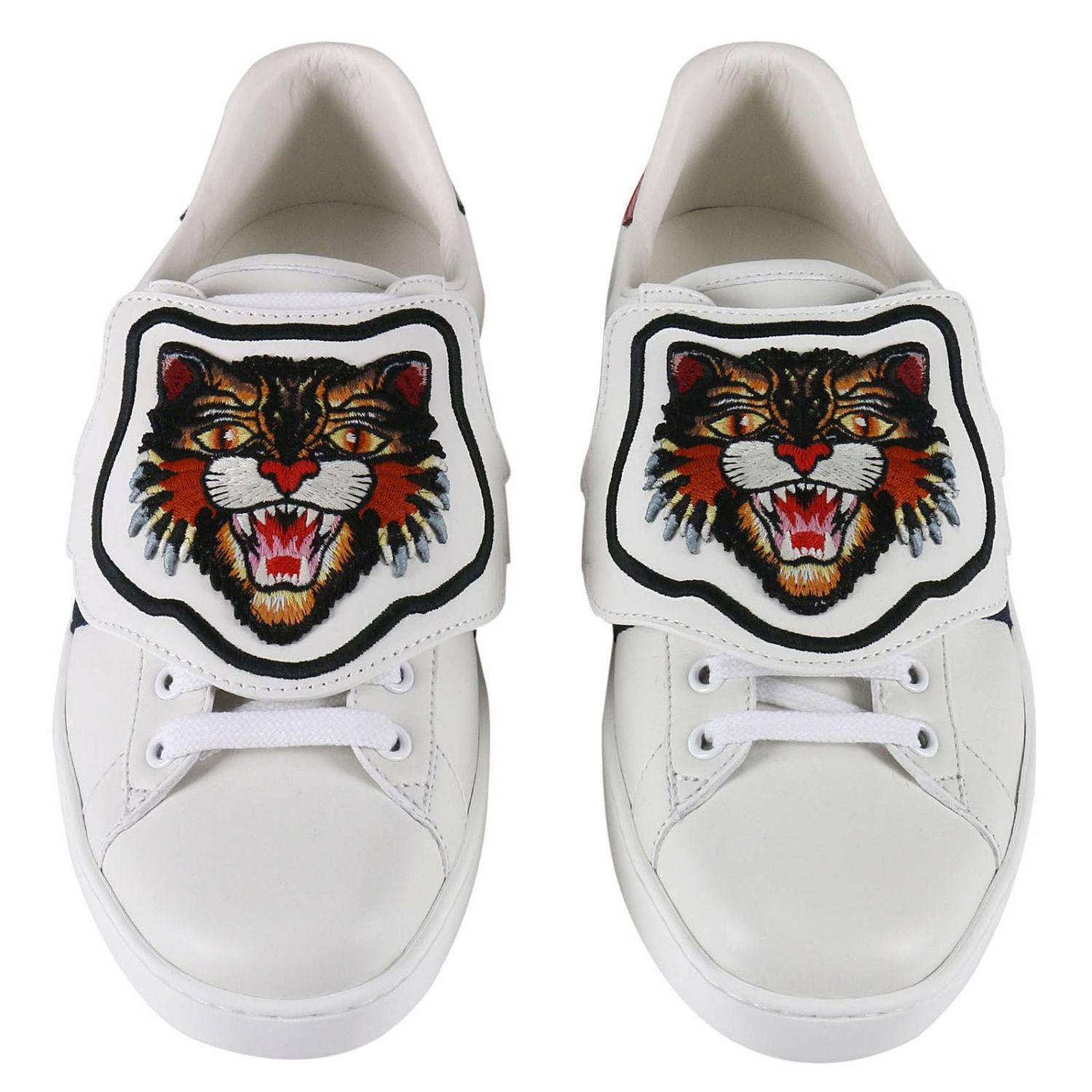 9b0a6007943 Gucci Ace Sneakers With Embroidered Angry Cat Removable Patches And ...