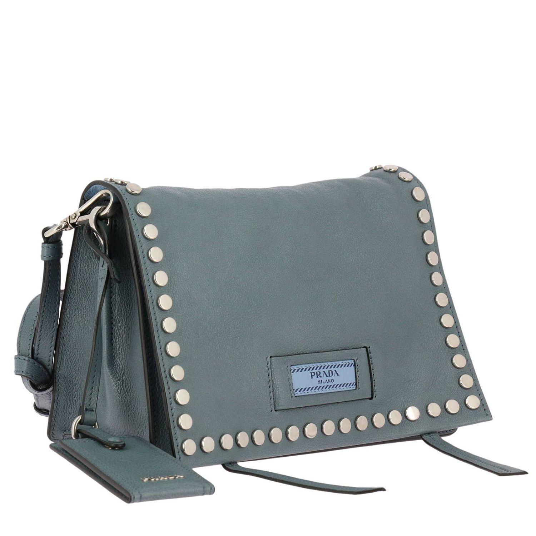 Prada Etiquette Bag Genuine Leather Glacé Shoe With Studs Logo And Removable Shoulder Strap