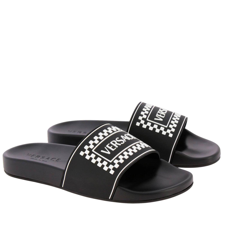 840975f2905d Versace Black Logo Slide Sandals in Black for Men - Save 20% - Lyst