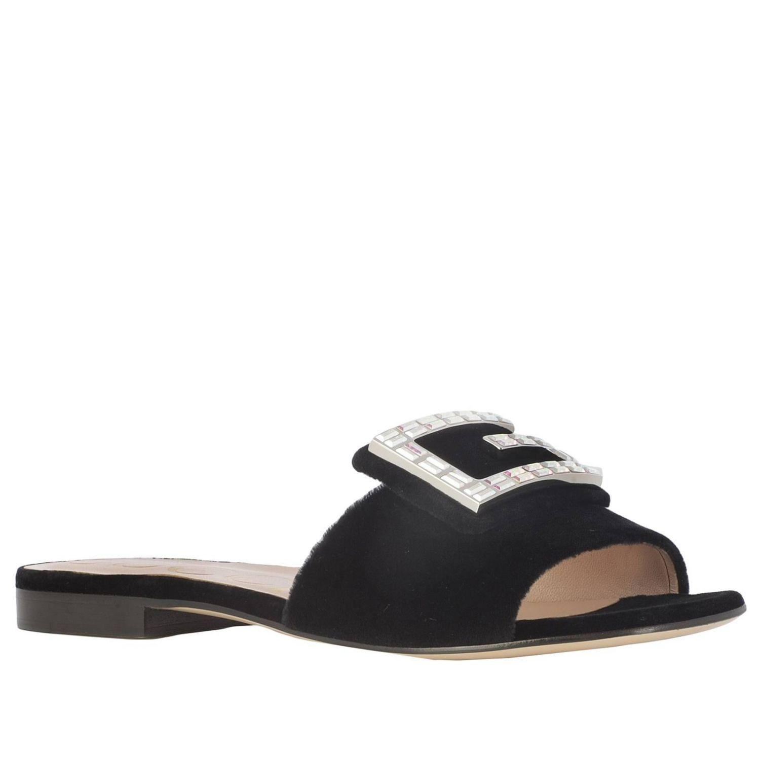 Gucci Leather Flat Sandals Shoes Women In Black Lyst