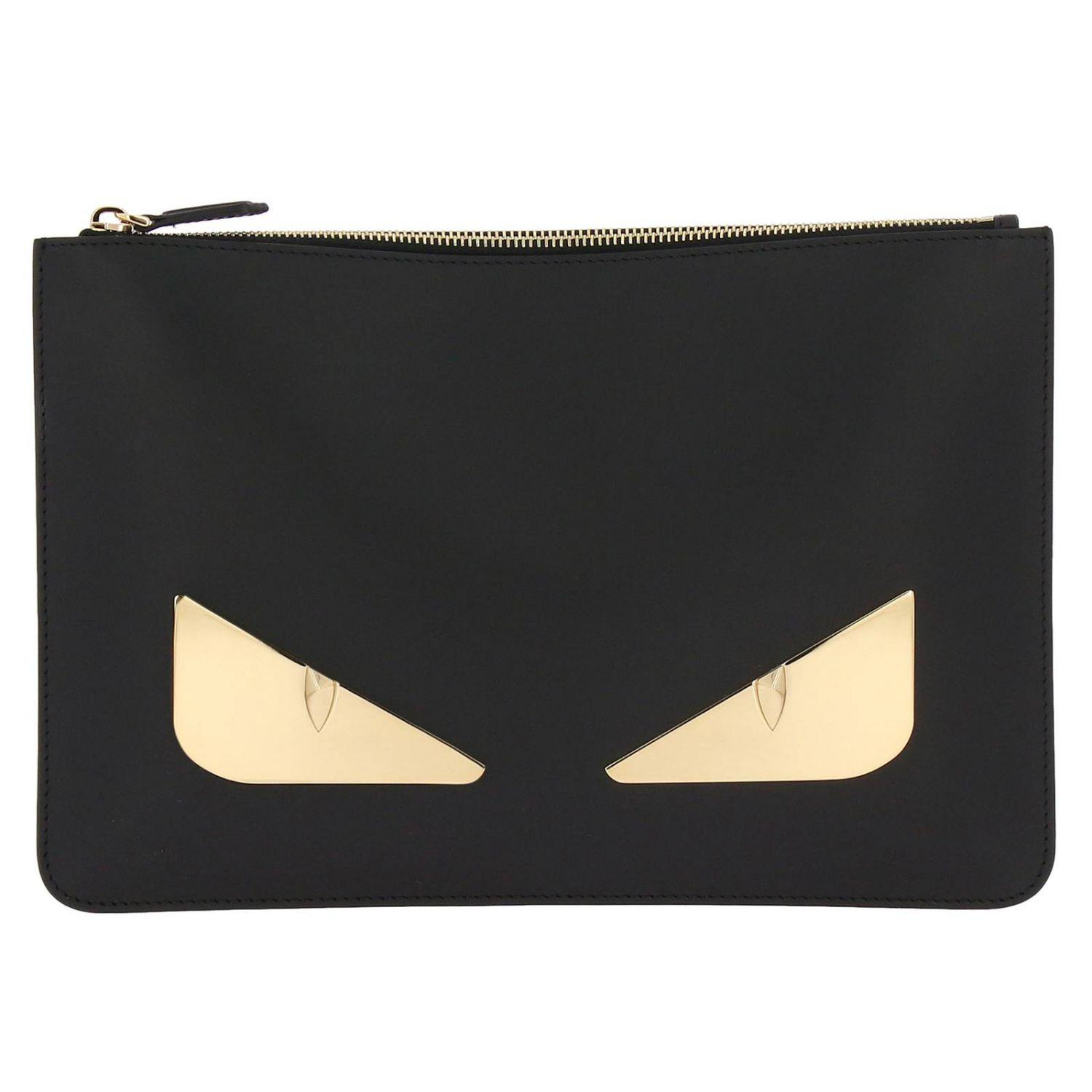 Fendi Monster Eyes Clutch Bag In Smooth Leather With Maxi Metallic ... 9e1ea7384f737
