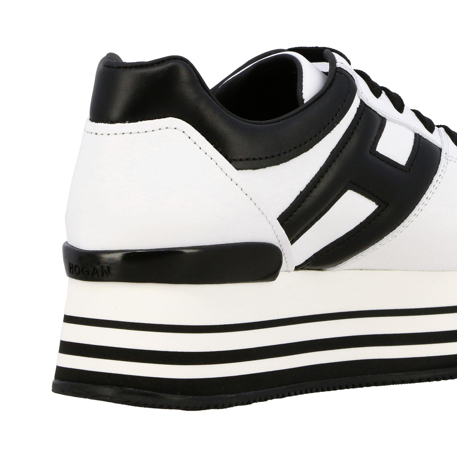 Hogan H222 Black And White Leather Sneakers - Save 65% - Lyst