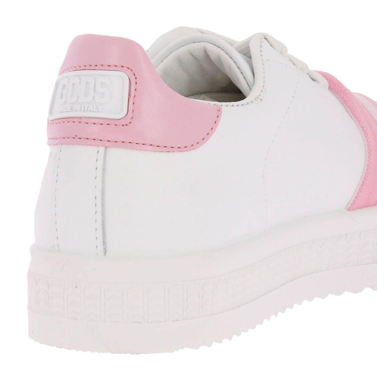 Gcds Leather Sneaker Bianca E Rosa in White/Pink (Pink)