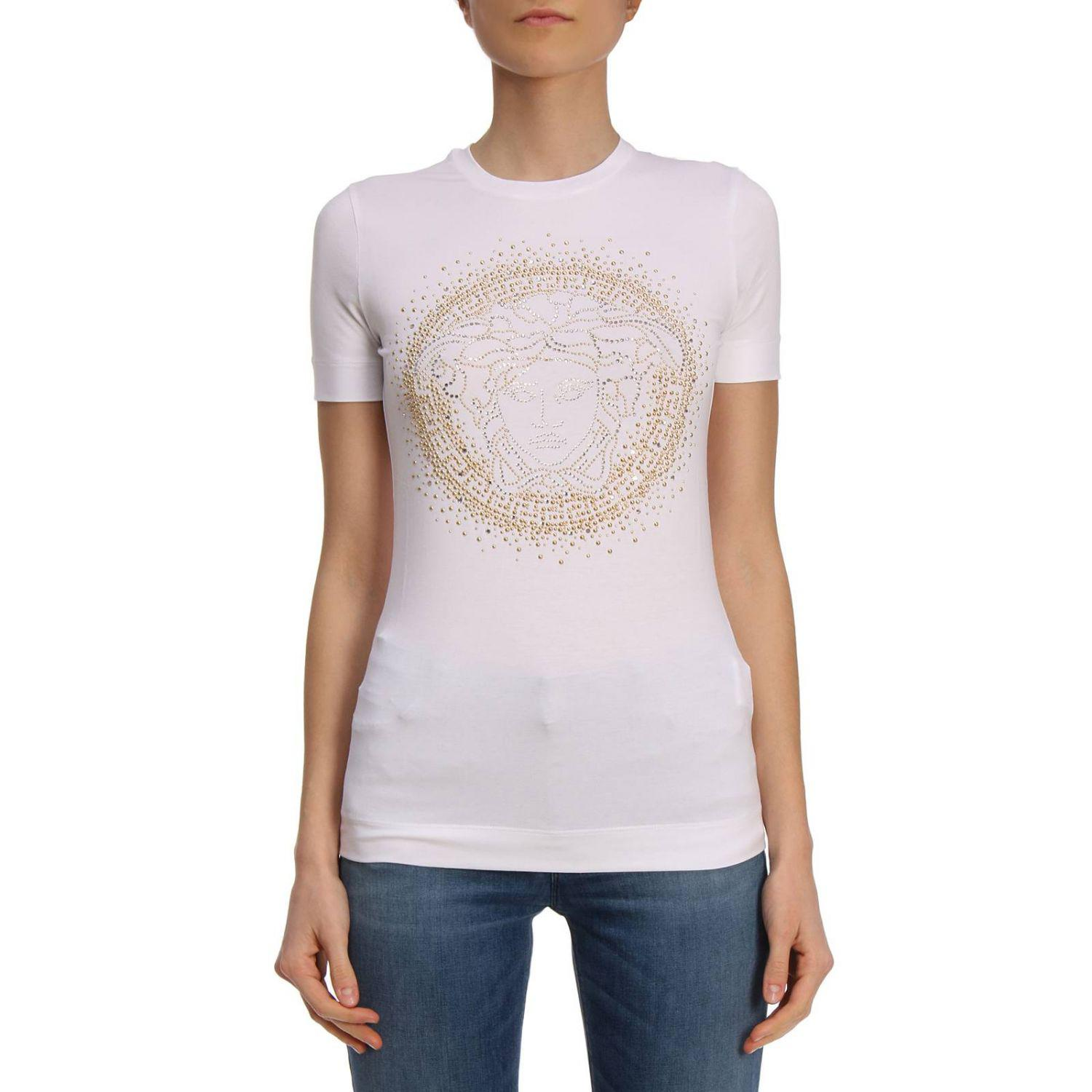 8bc77f17a5dd Versace T-shirt Women in White - Lyst