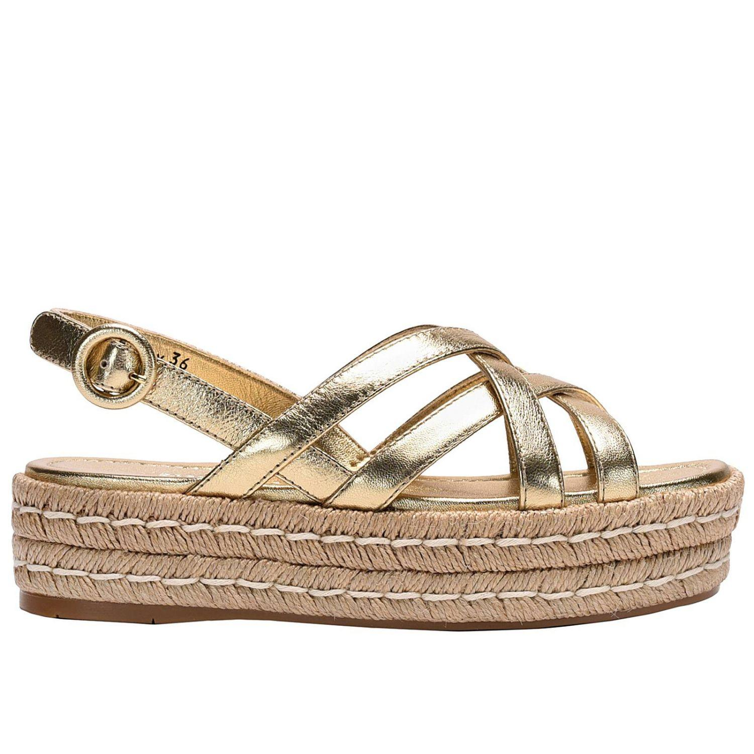 Model PRADA Shoes For Women Leather Coconut Wedge Sandals Yellow