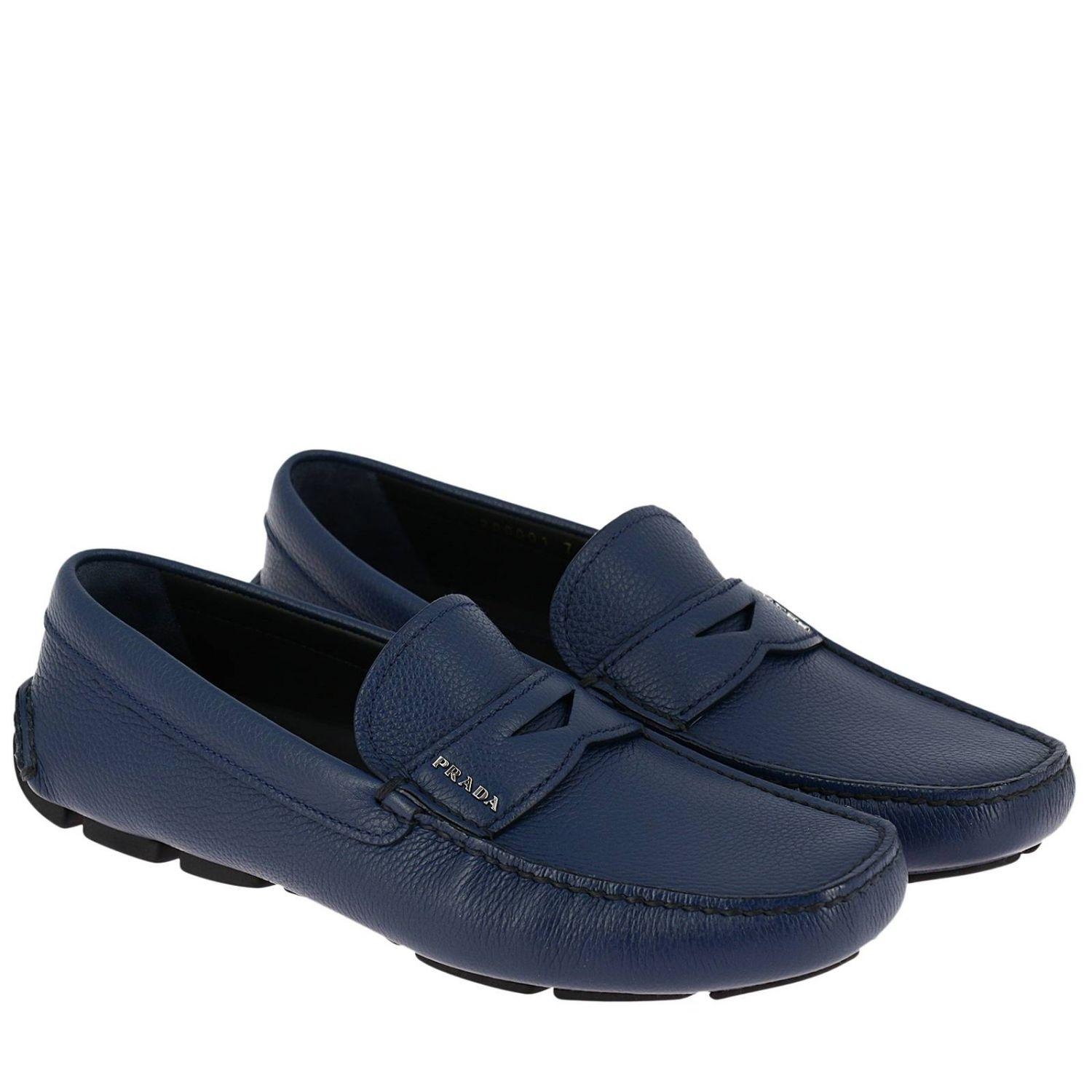 Prada Leather Loafers Shoes Men in Blue