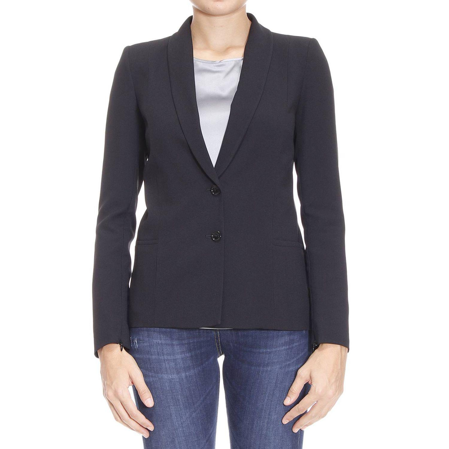 lyst patrizia pepe blazer suit jacket woman in black. Black Bedroom Furniture Sets. Home Design Ideas